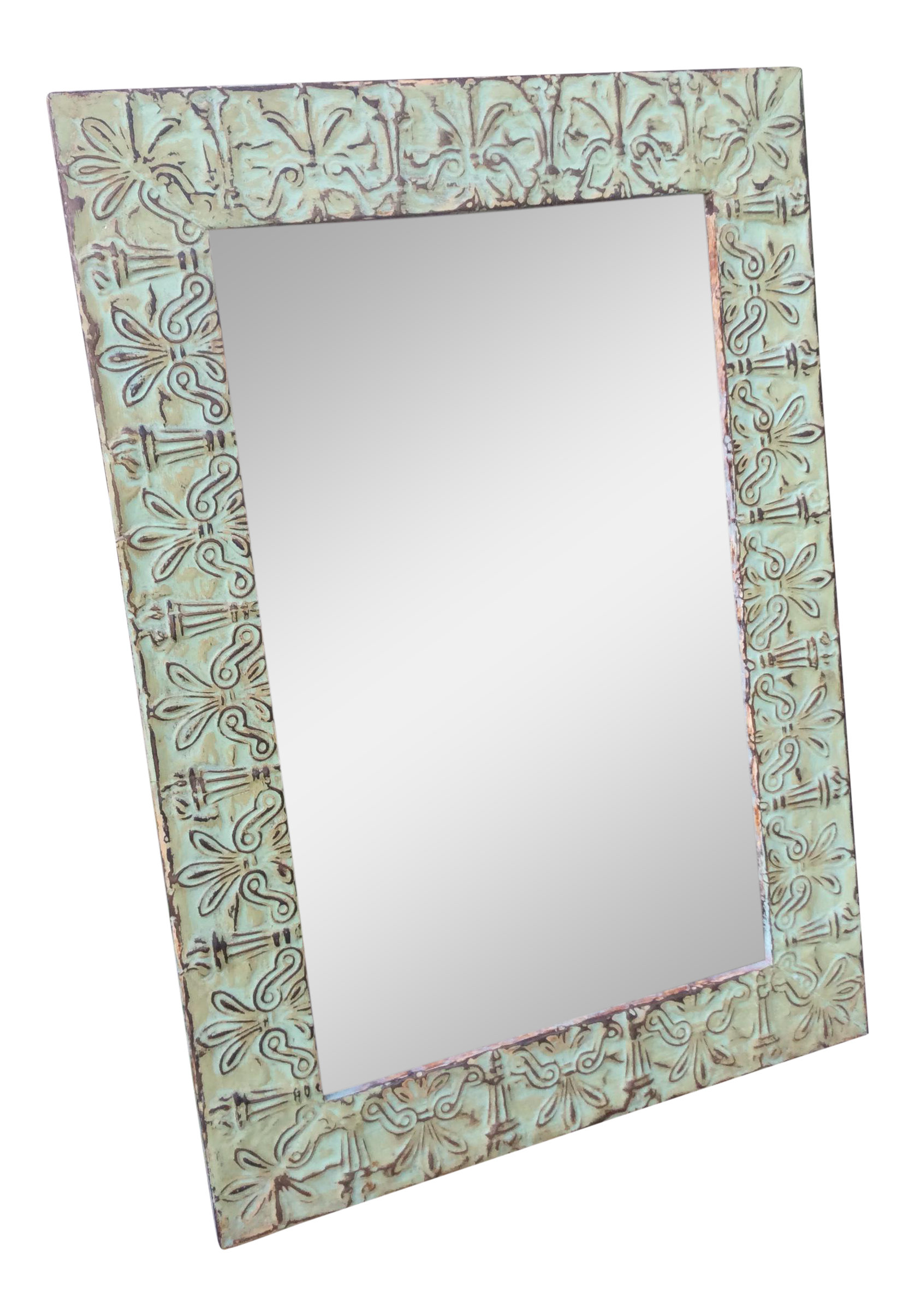 Antique green ceiling tile mirror chairish dailygadgetfo Image collections