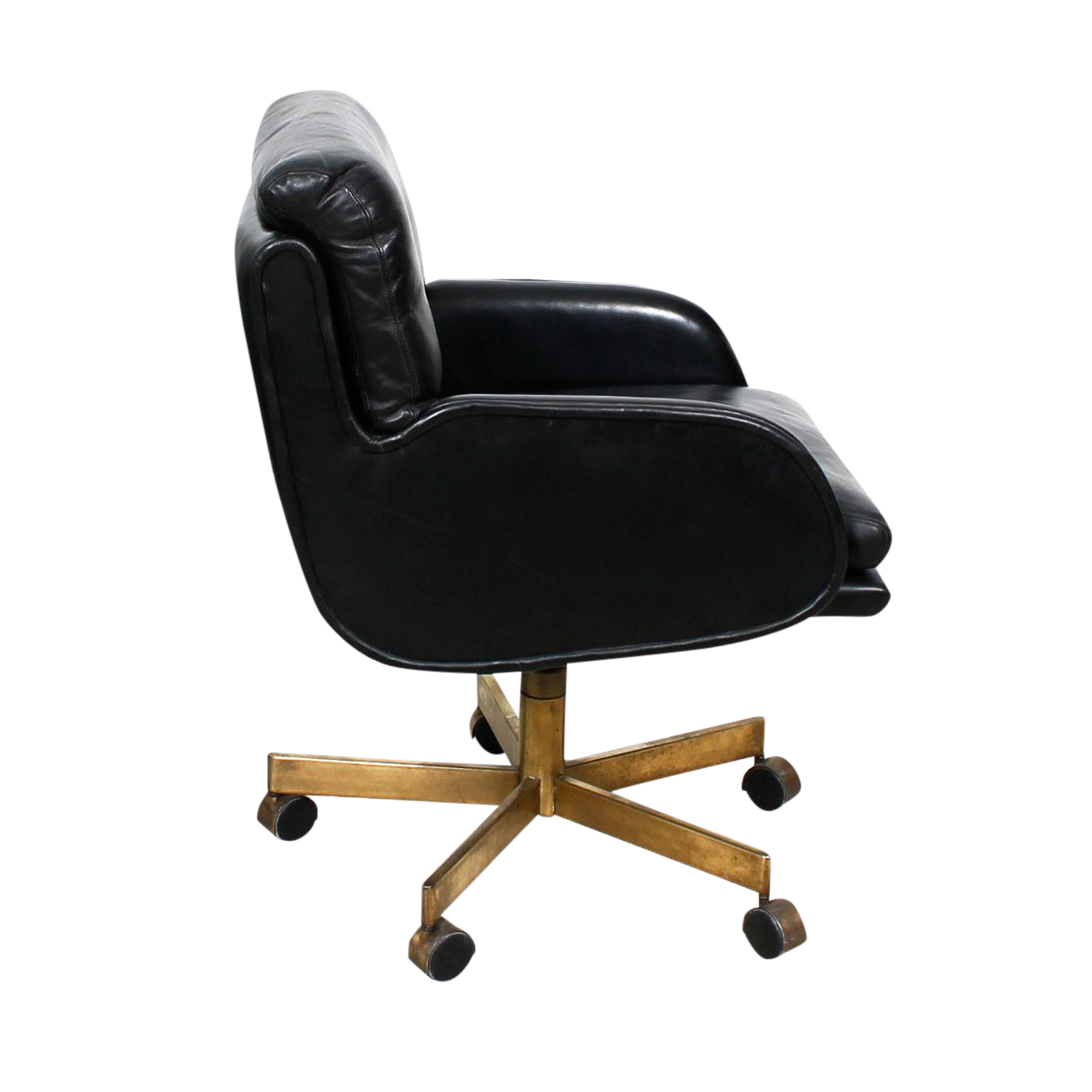 Black Leather Chair With Brass Swivel Base By Dunbar