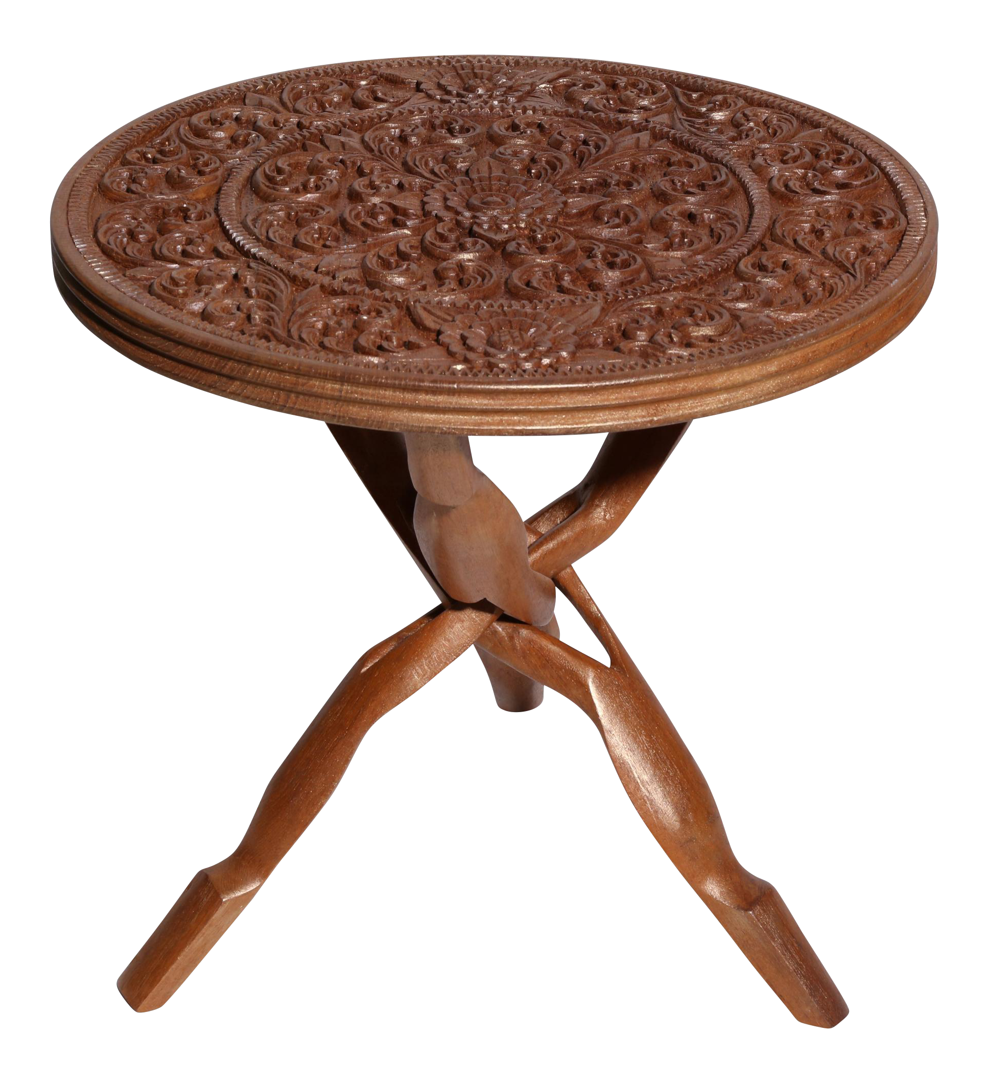 Carved wood accent table chairish for Table 850 wood