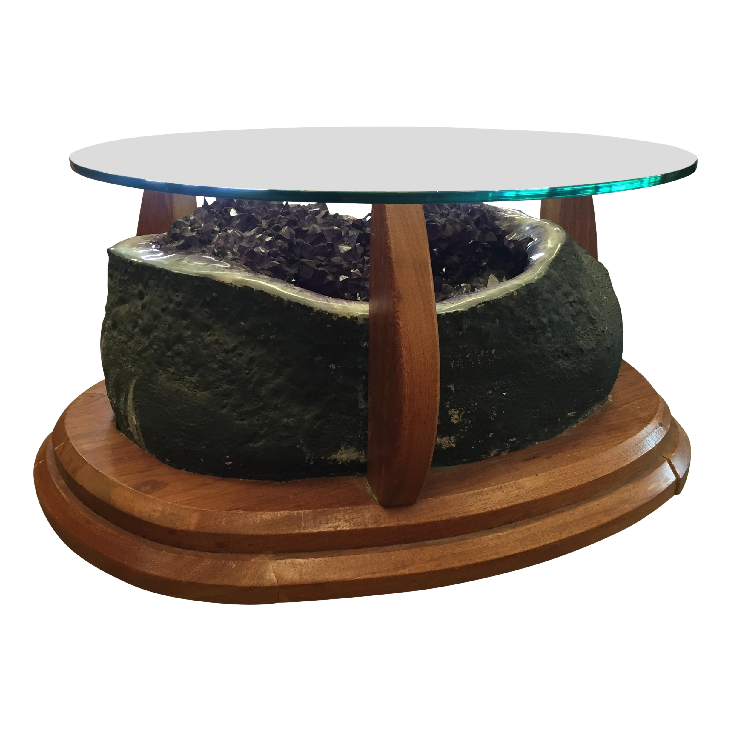 Amethyst crystal geode coffee table chairish for Geode side table