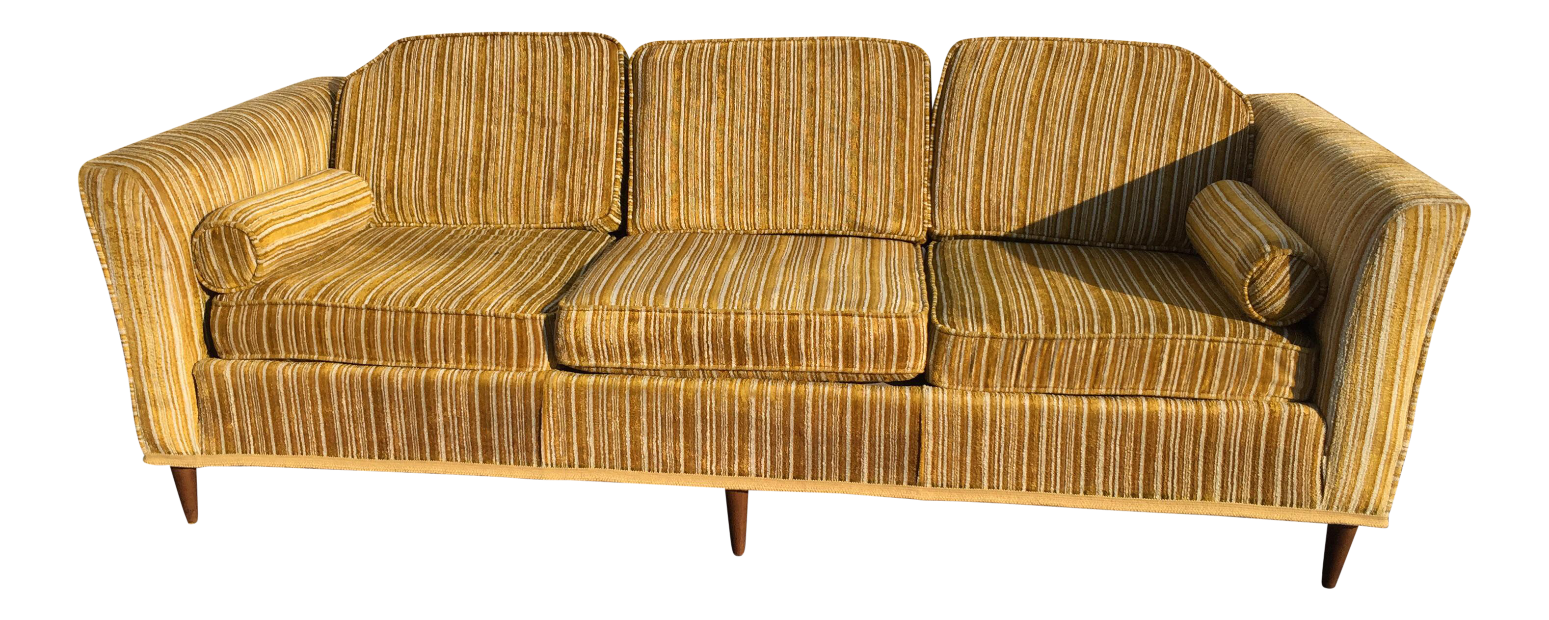 Kroehler Royale Mid Century Gold Striped Sofa