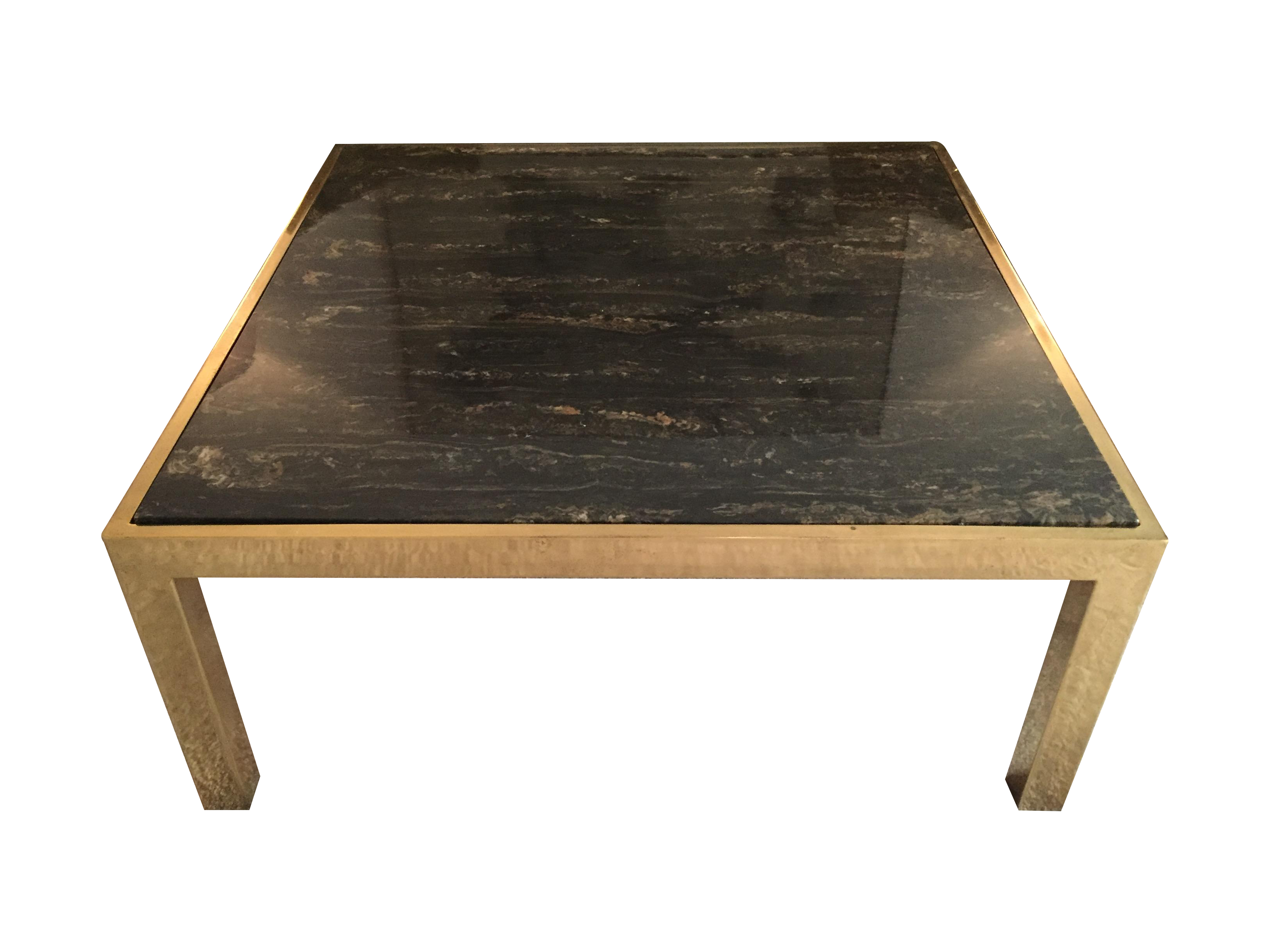 Mid Century Square Brass And Marble Coffee Table