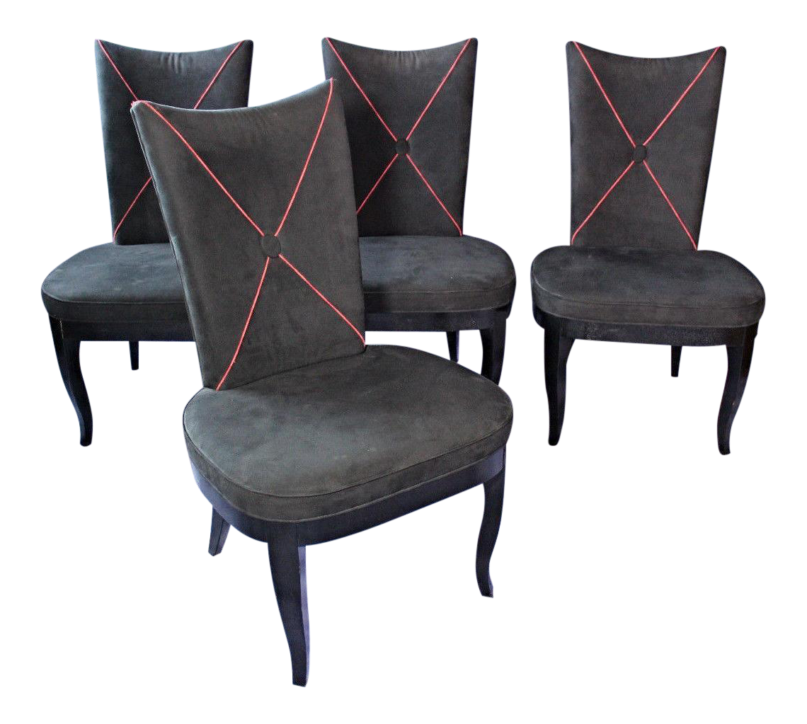 modern black ultra suede dining chairs set of 4 chairish. Black Bedroom Furniture Sets. Home Design Ideas
