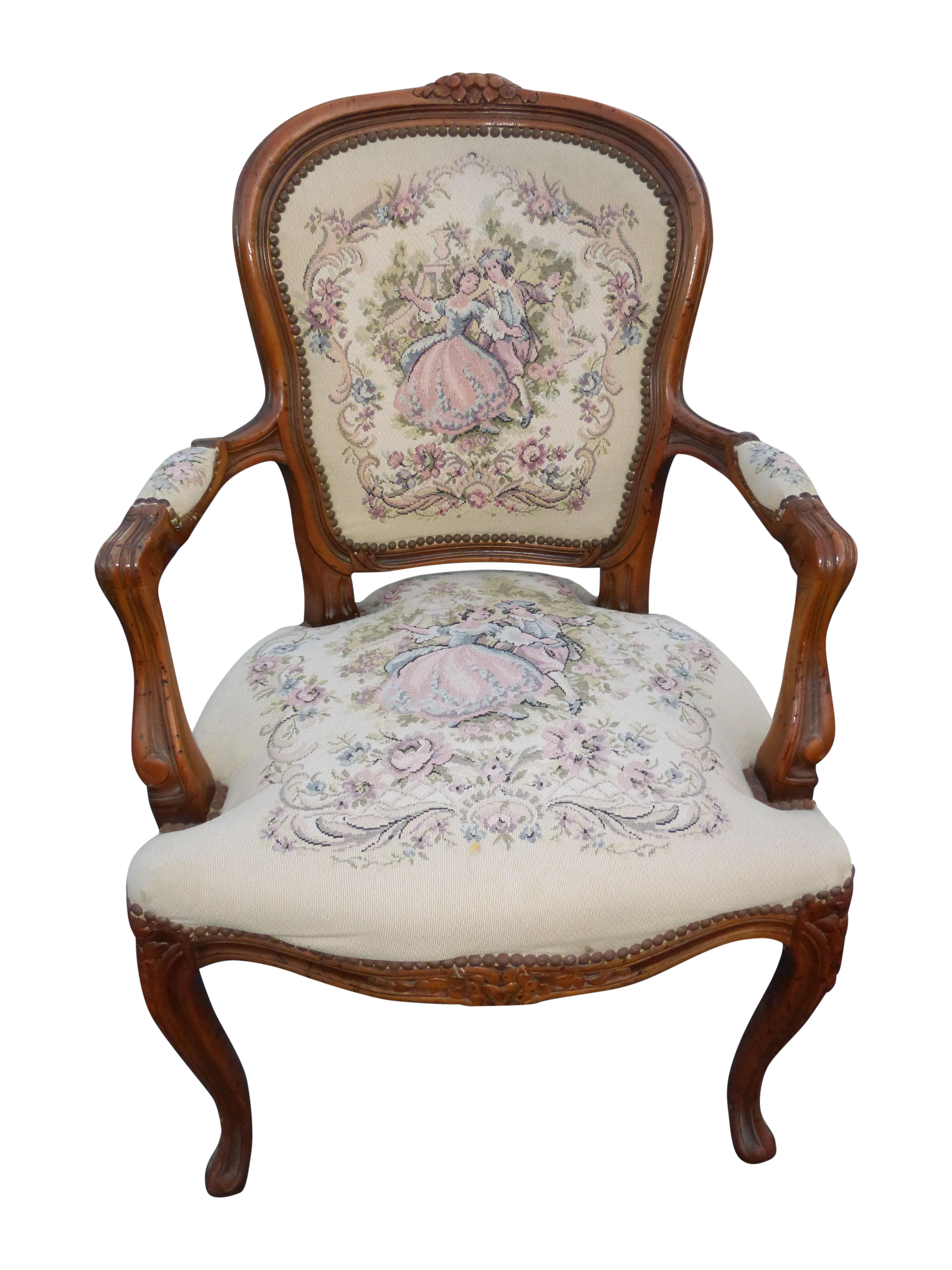 French Provincial Tapestry Ornate Carved Arm Chair Chairish