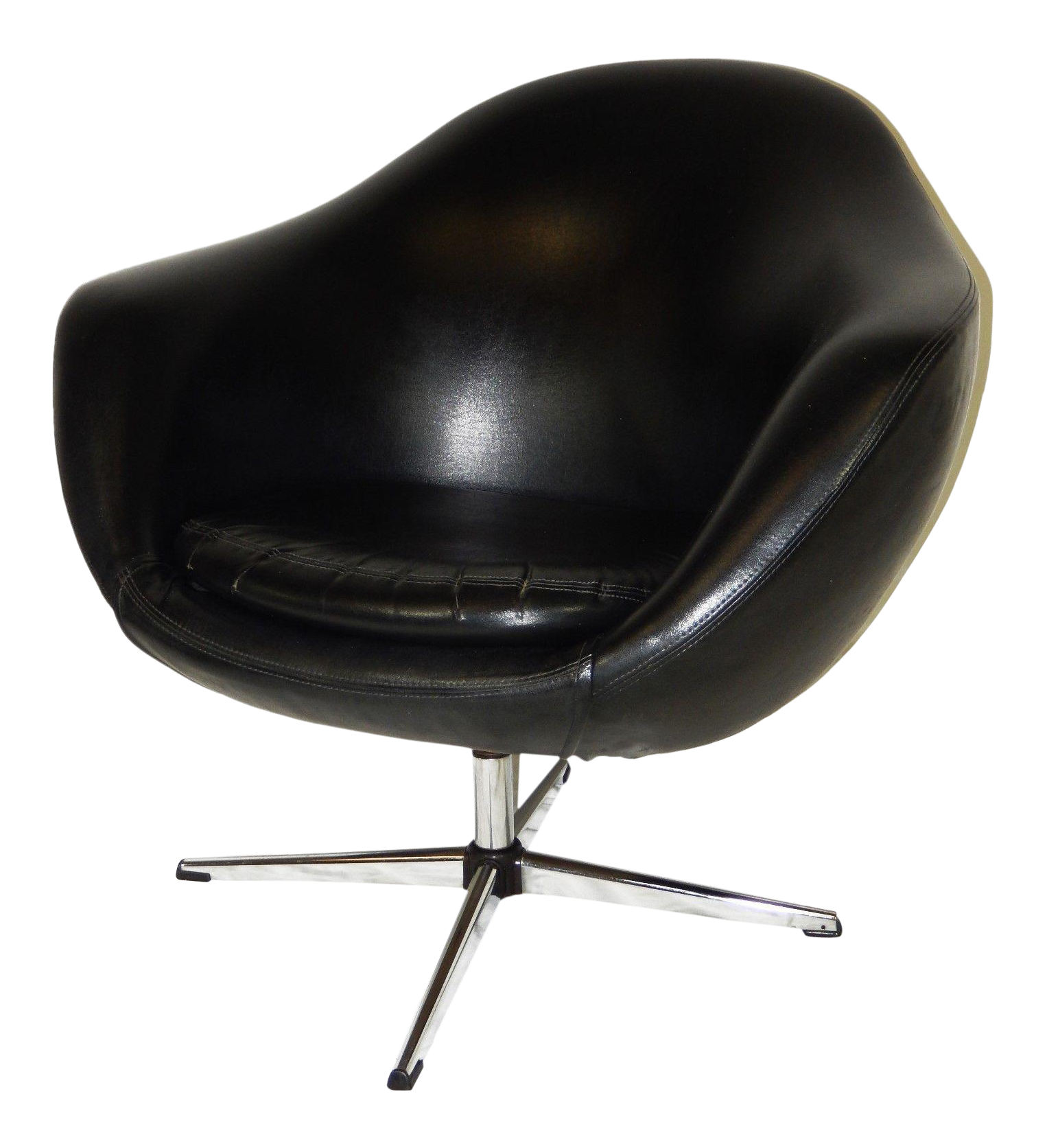 Overman Mid Century Modern Black Vinyl Pod Chair Chairish