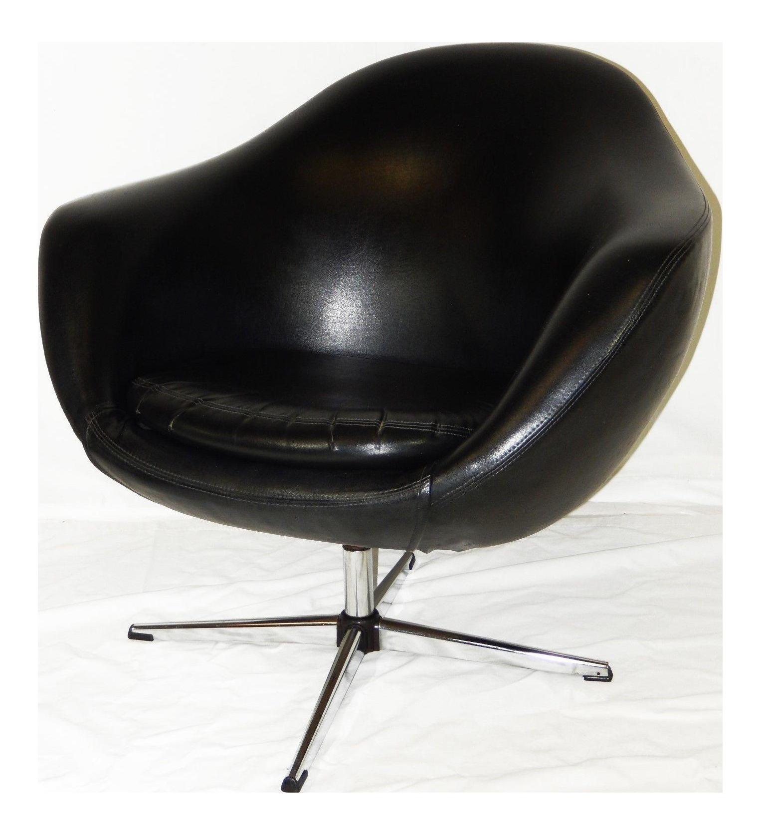 Overman Mid Century Modern Black Vinyl Pod Chair
