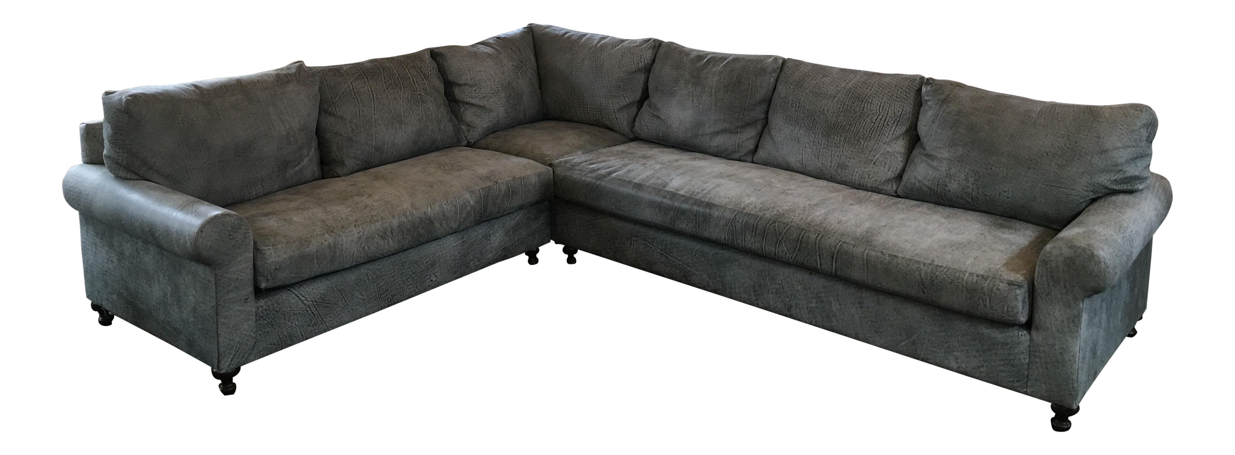 Sofa U Love Distressed Gray Leather Sectional