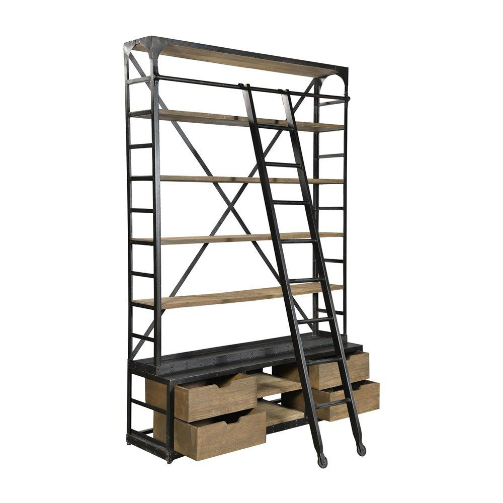 industrial bookcase with ladder and drawers chairish. Black Bedroom Furniture Sets. Home Design Ideas