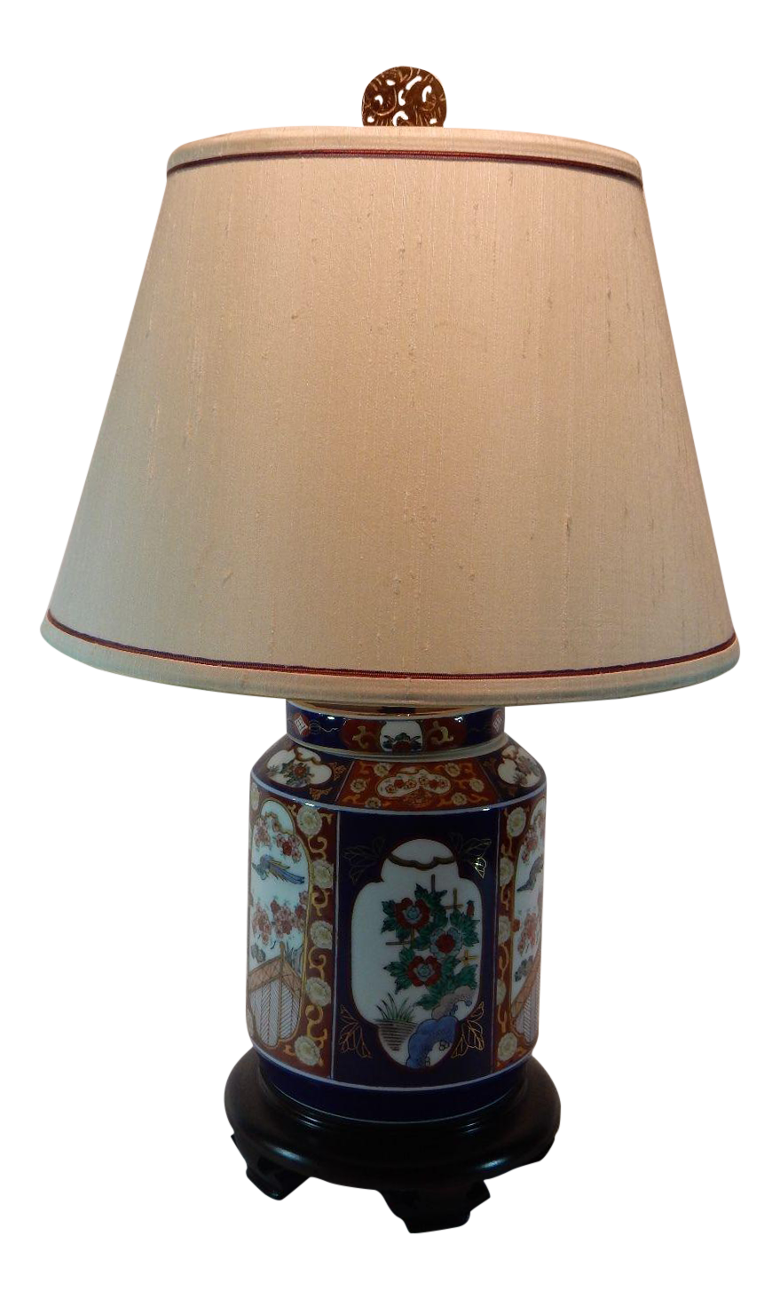 Japanese Imari Ginger Jar Lamp Silk Shade Chairish
