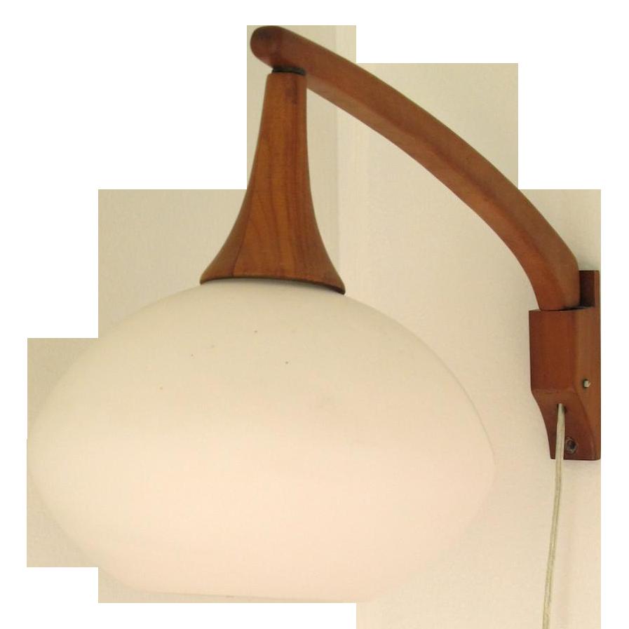 Vintage Danish Modern Teak Lamp Wall Sconce Chairish