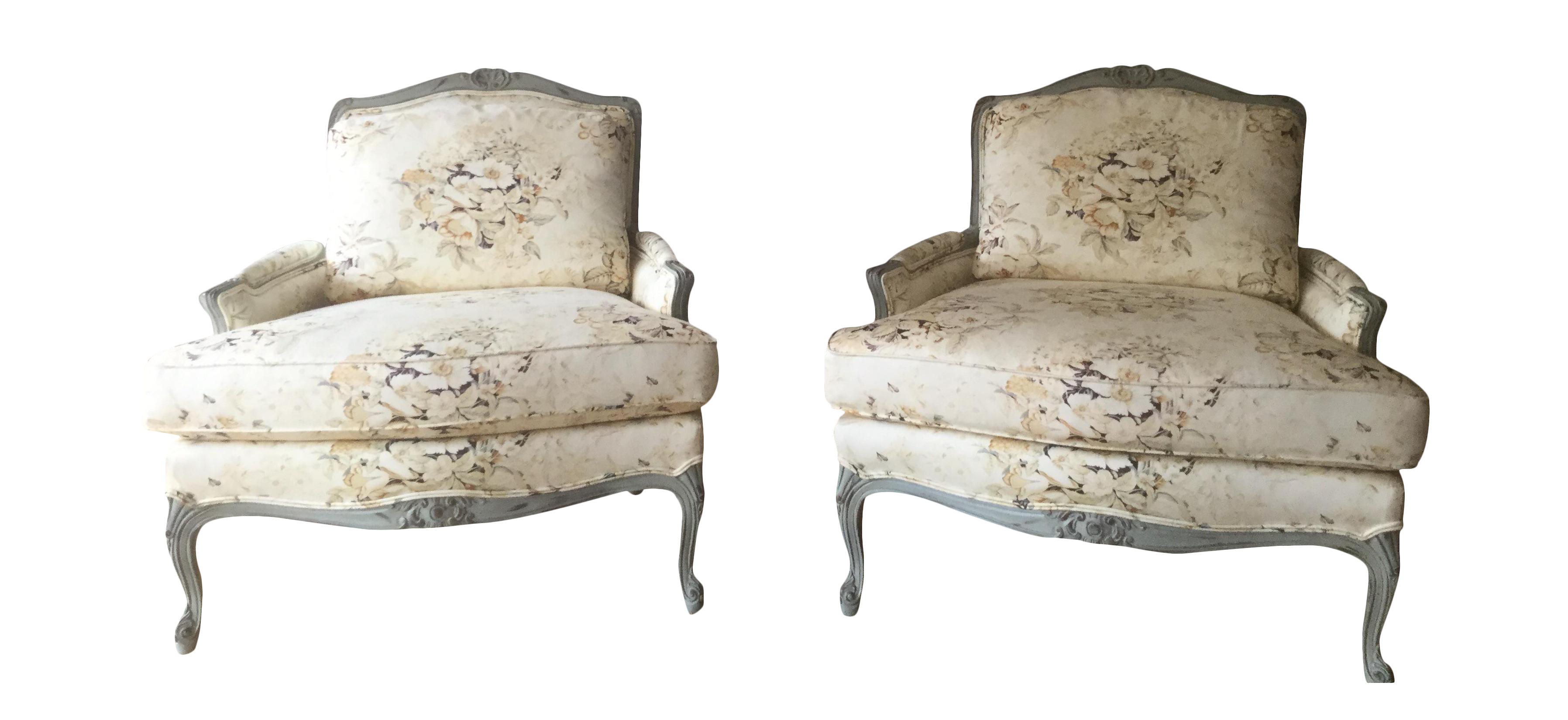 Floral Chintz Louis XV Rococo Cabriole Style Bergere Chairs A