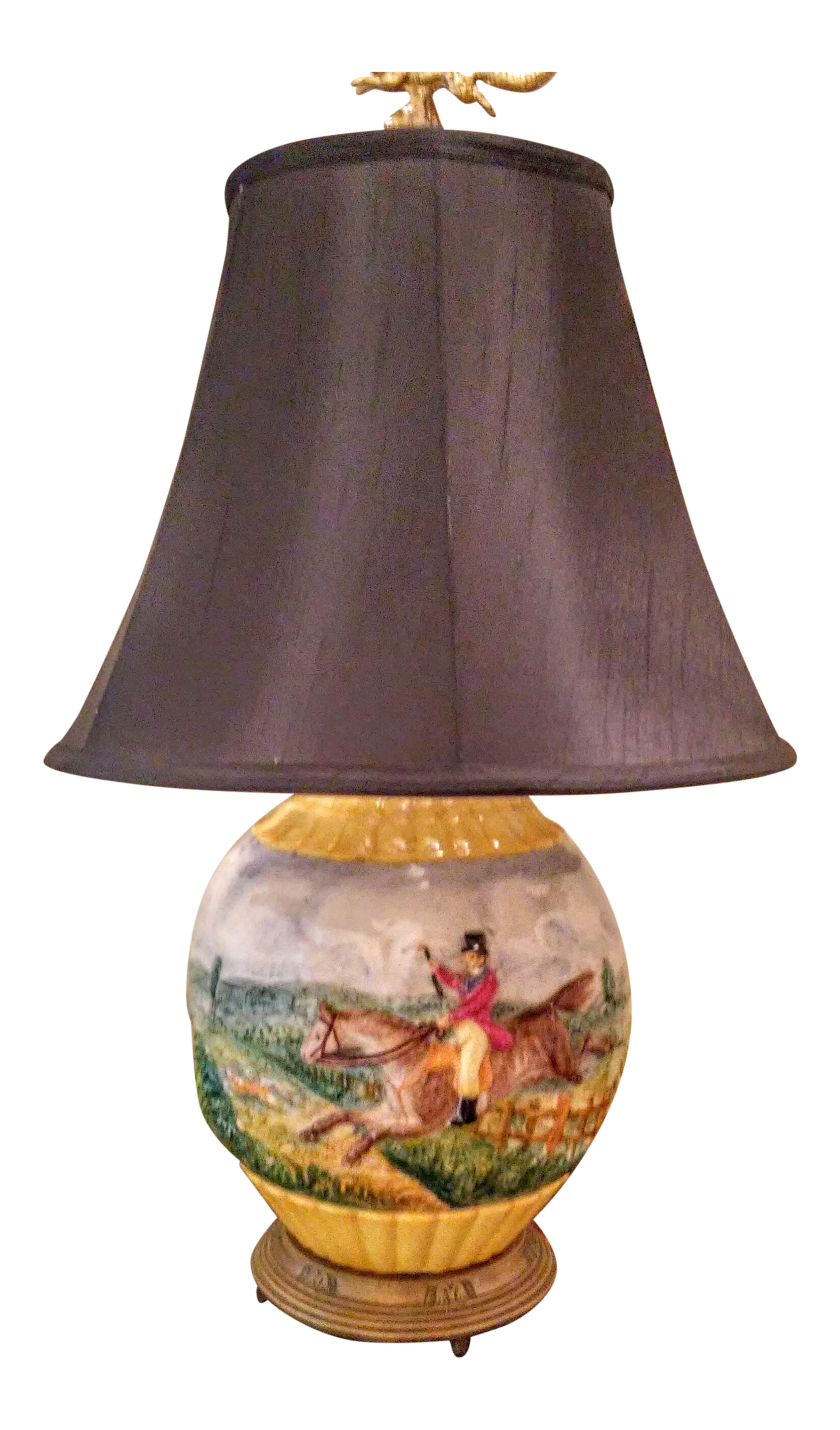 Vintage used country table lamps chairish vintage fox hunting high relief table lamp with fox finial geotapseo Images