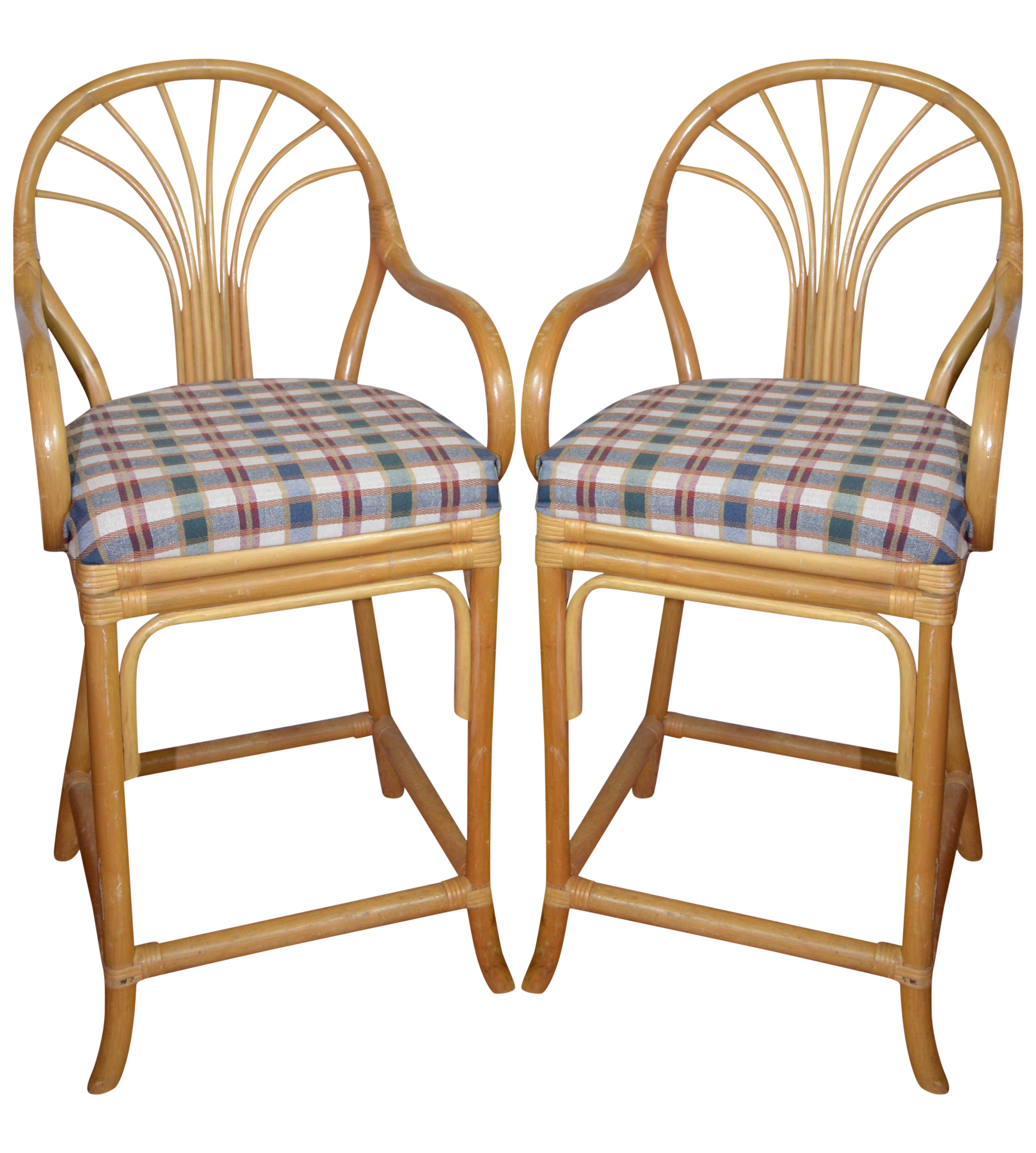Vintage Rattan Bar Stools Set Of 2 Chairish