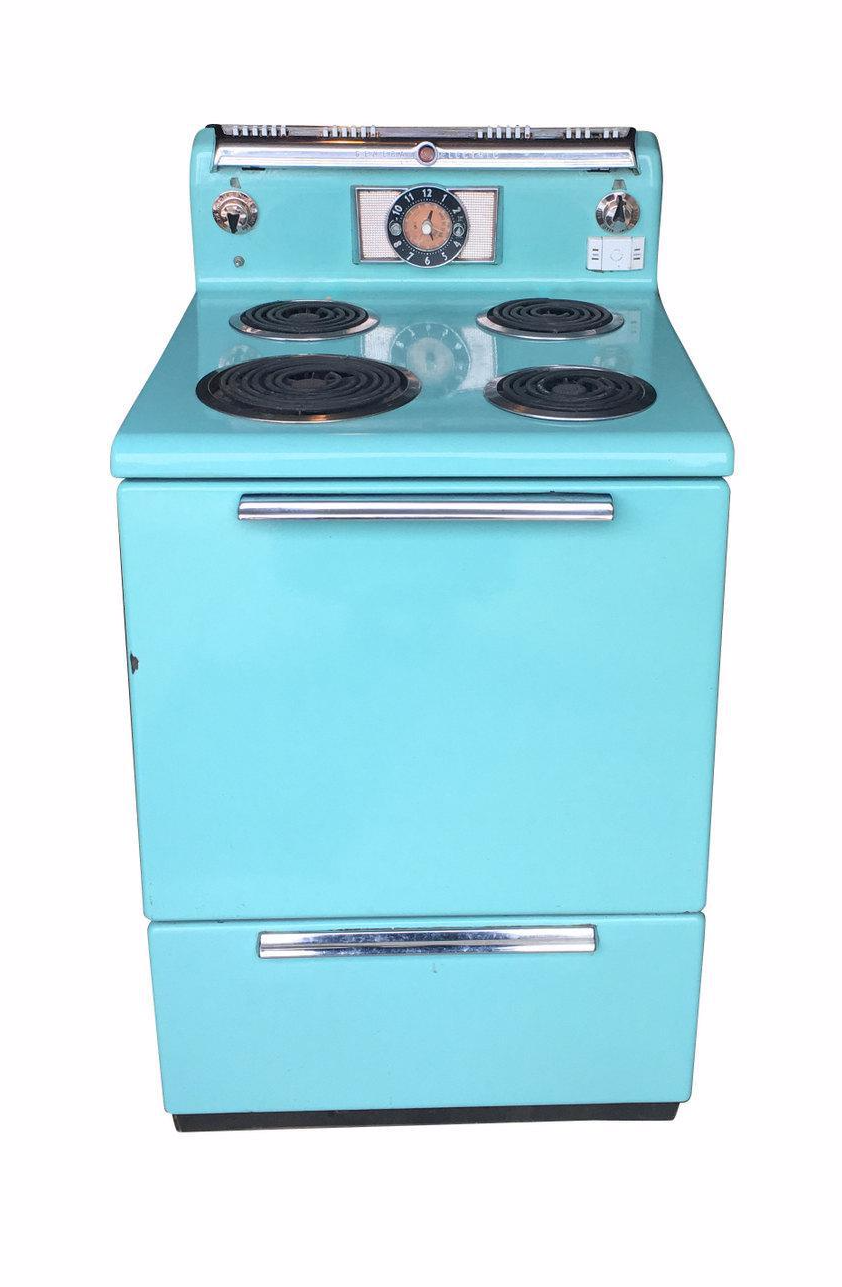 1950s Vintage General Electric Turquoise Stove Chairish