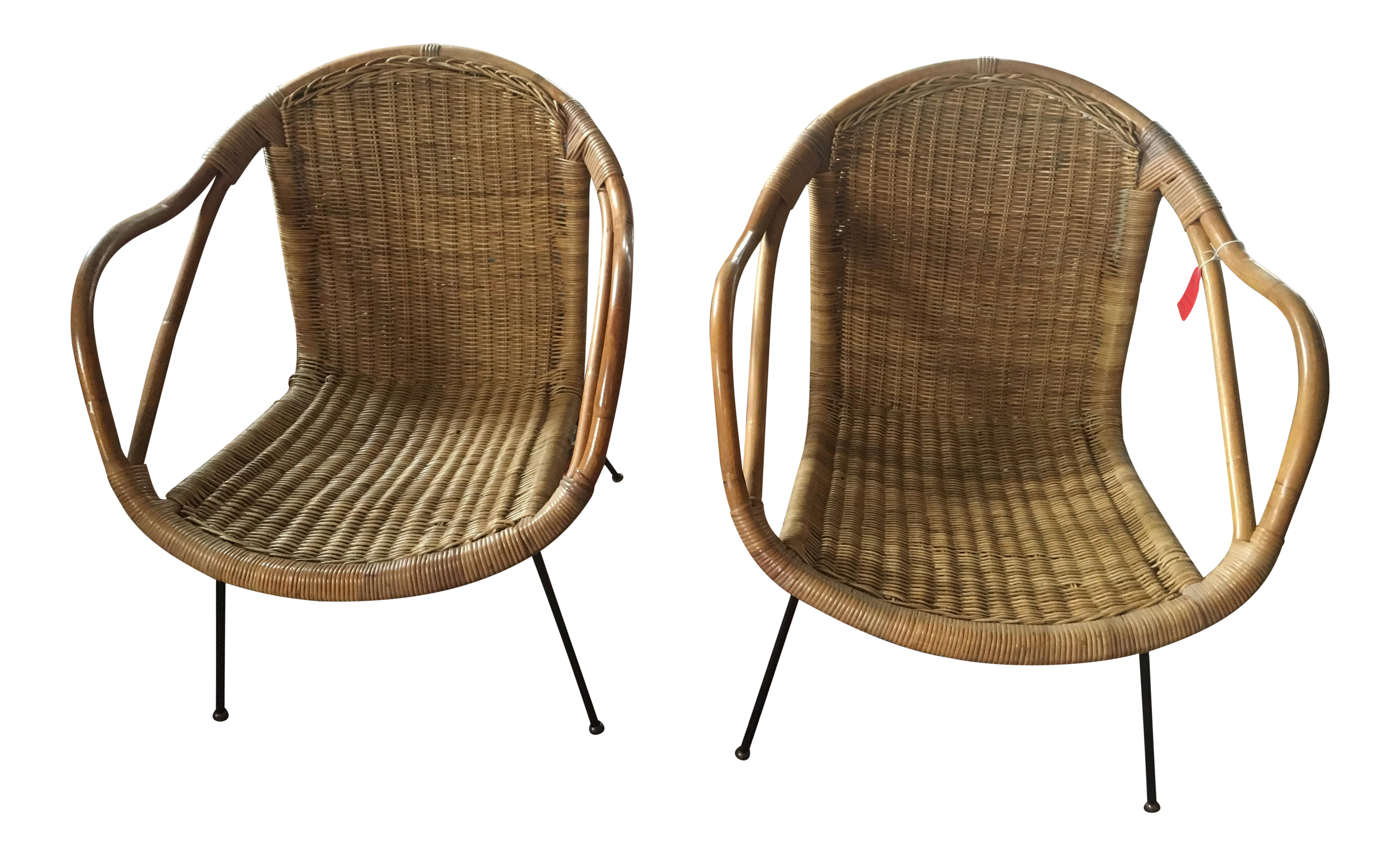 Calif Asia Rattan and Bamboo Chairs A Pair