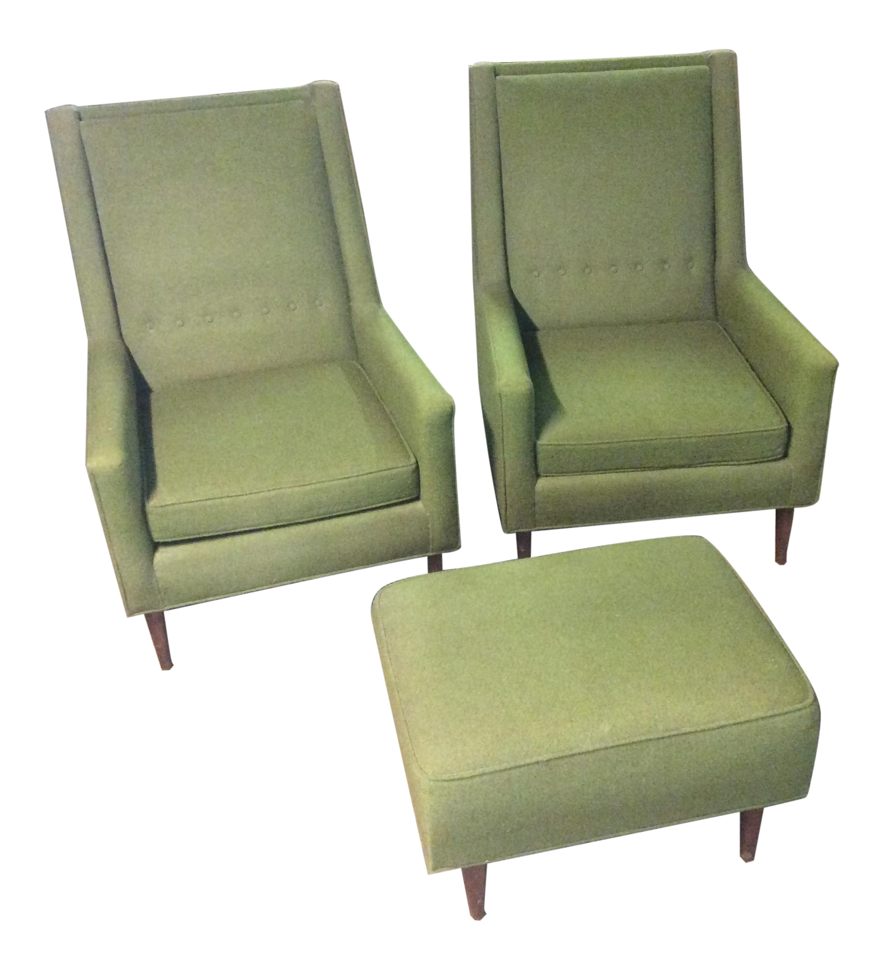 Mid Century Moss Green Tufted Club Chairs & Ottoman Set