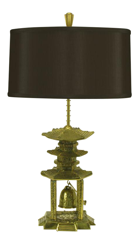 Sophisticated Brass Pagoda Temple Table Lamp With Hanging Bell | DECASO