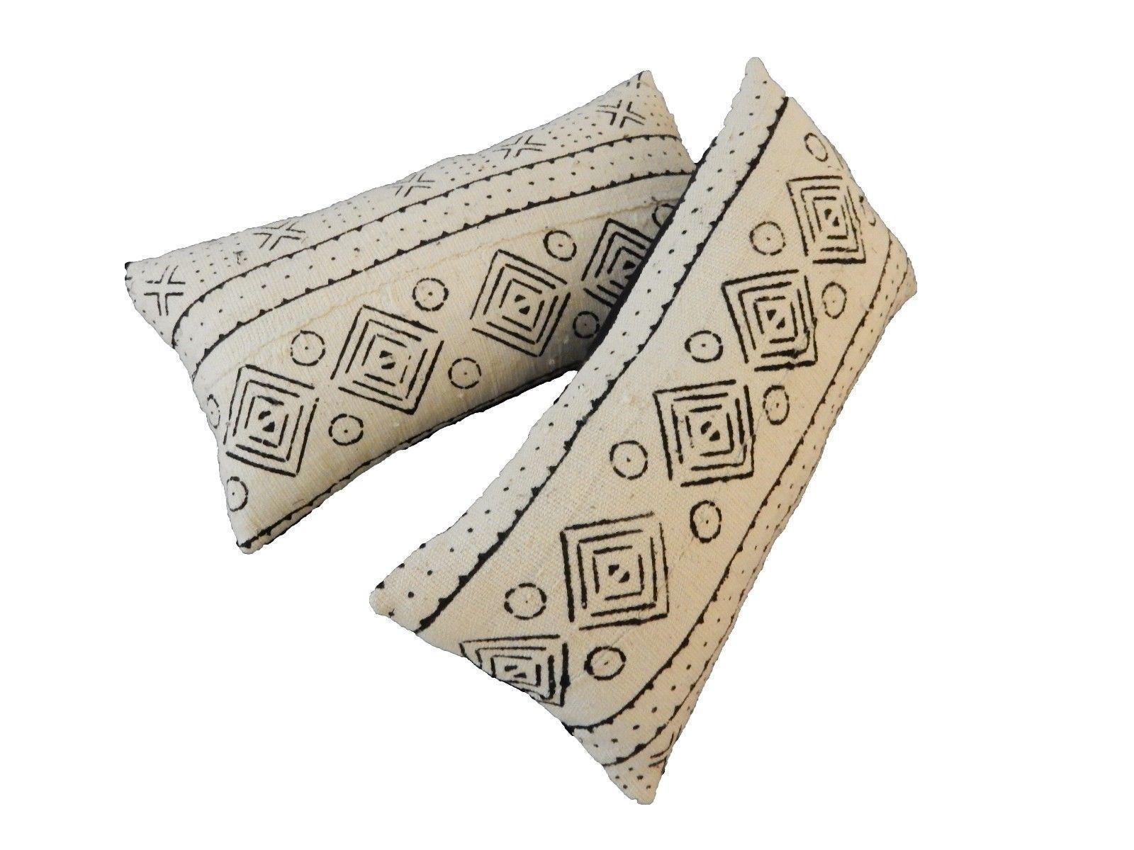 African Mudcloth Bogolan Lumbar Pillows A Pair Chairish