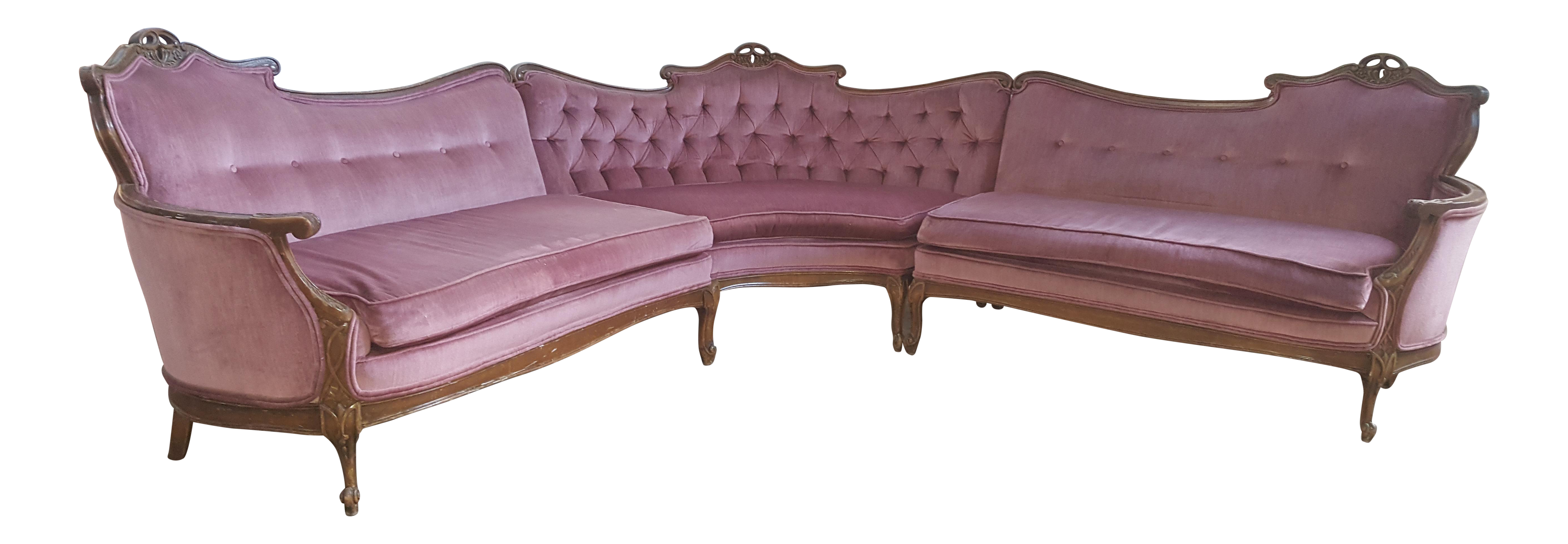 Vintage French Provincial Pink Velvet Sectional Sofa