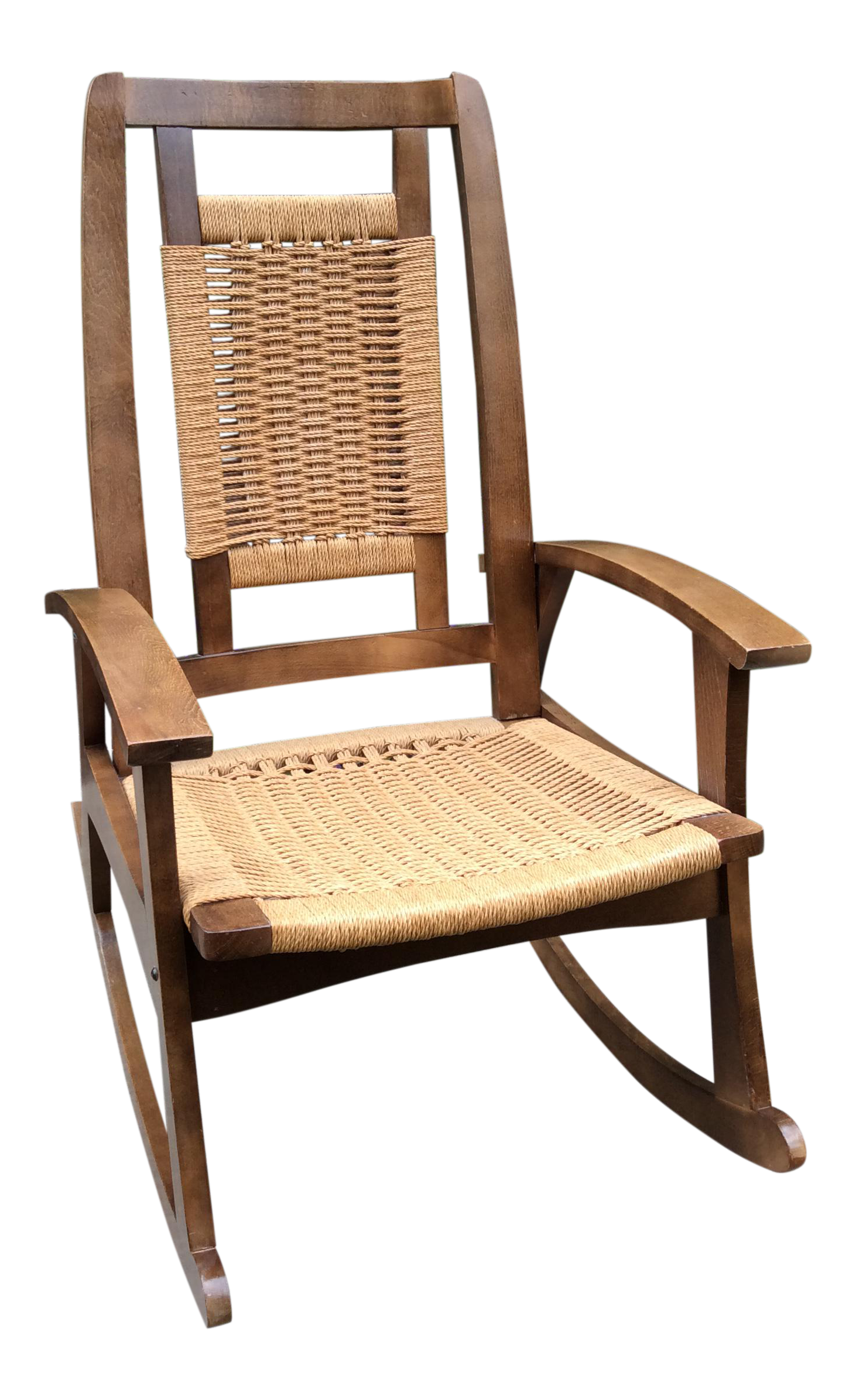 Hans Wegner Style Mid Century Modern Woven Rope Rocking Chair