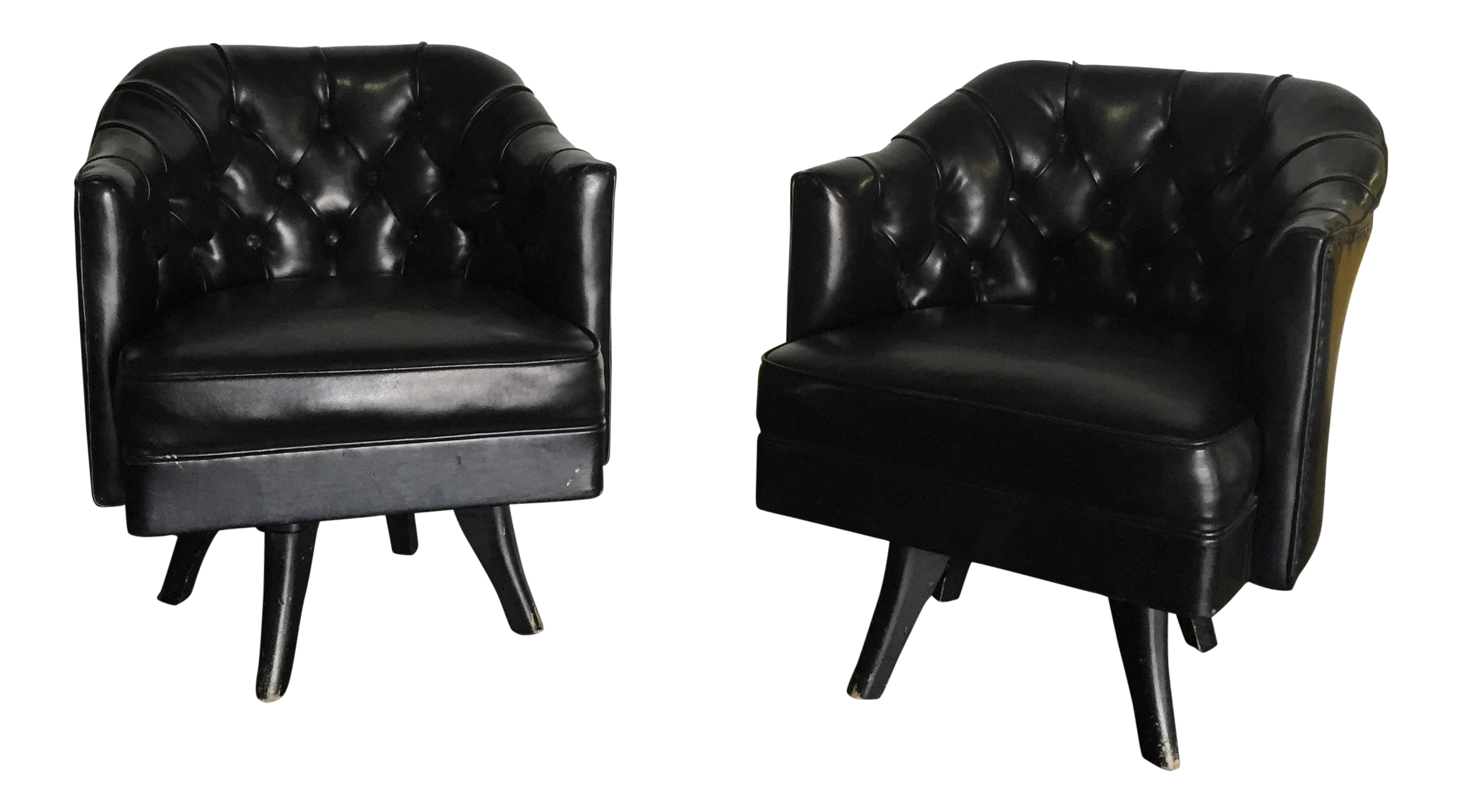 This mid century tufted club chairs is no longer available - Image Of Monteverdi Style Mid Century Tufted Chesterfield Swivel Chairs A Pair