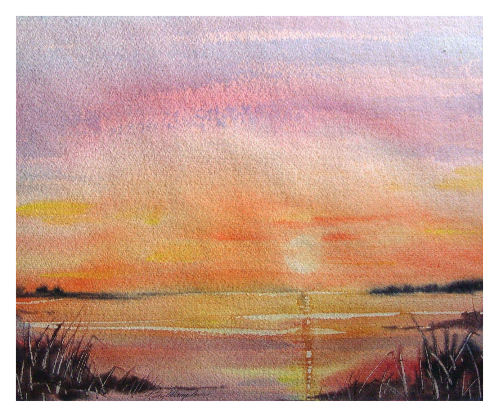 Pink Sunset Watercolor Chairish