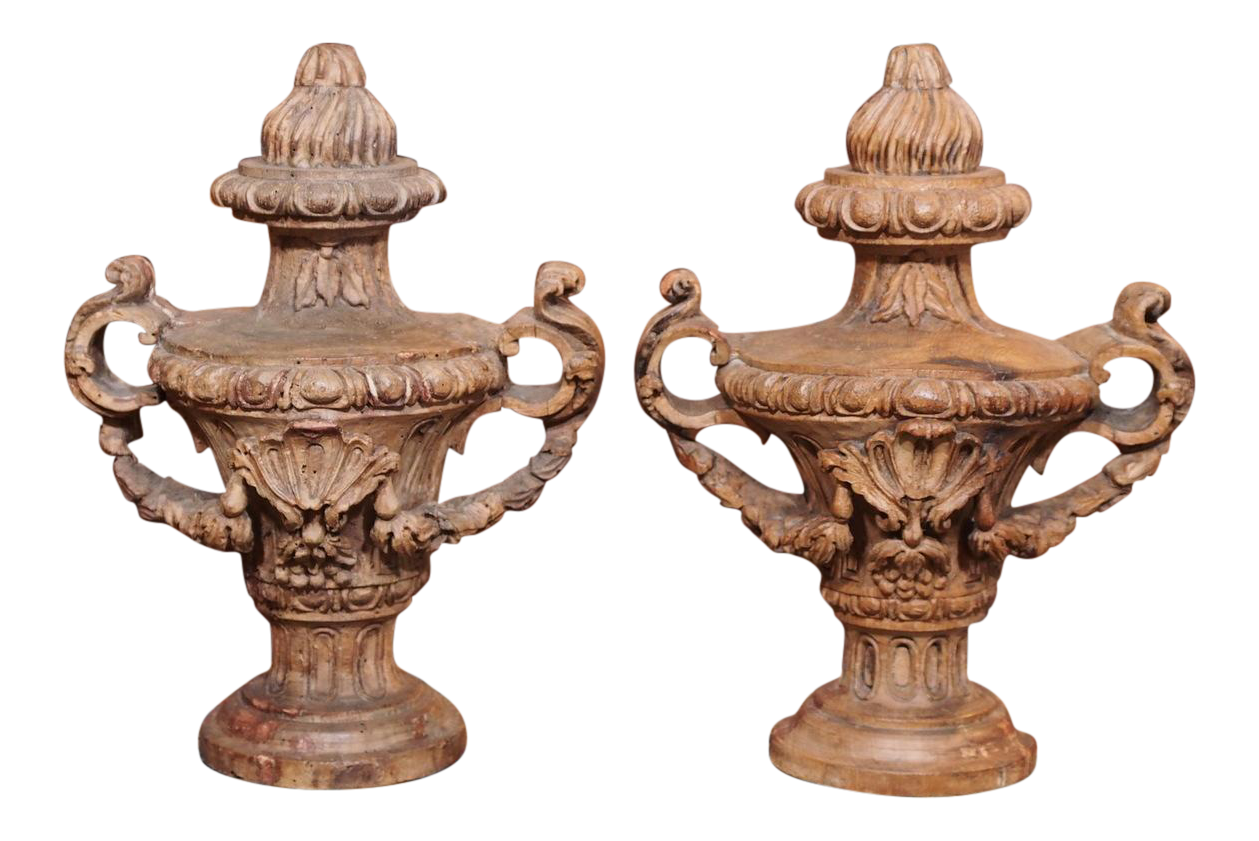 image of 18th century italian carved decorative wood urns pair - Decorative Urns
