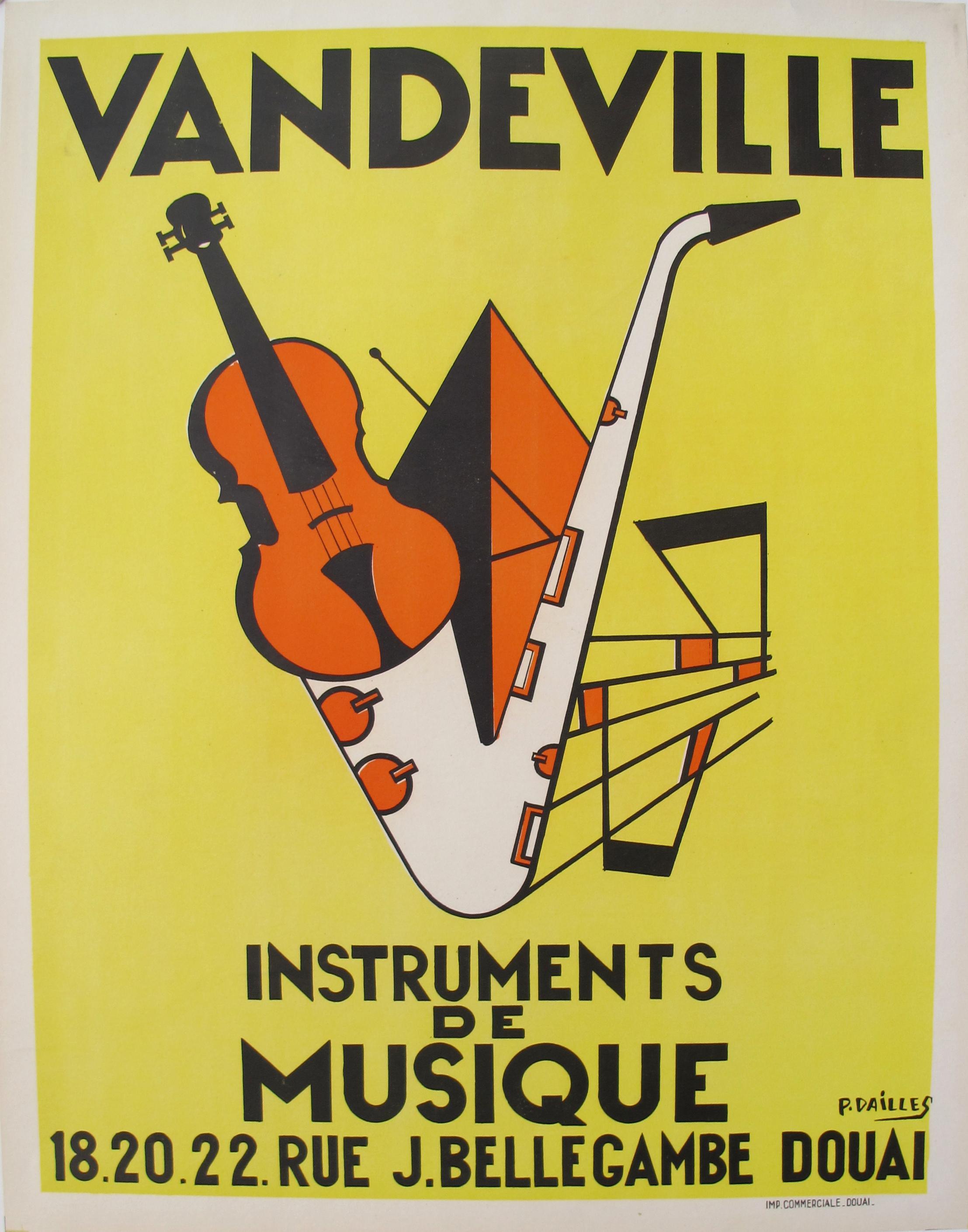 P Dailles 1950s Vandeville Art Deco Music Poster Chairish