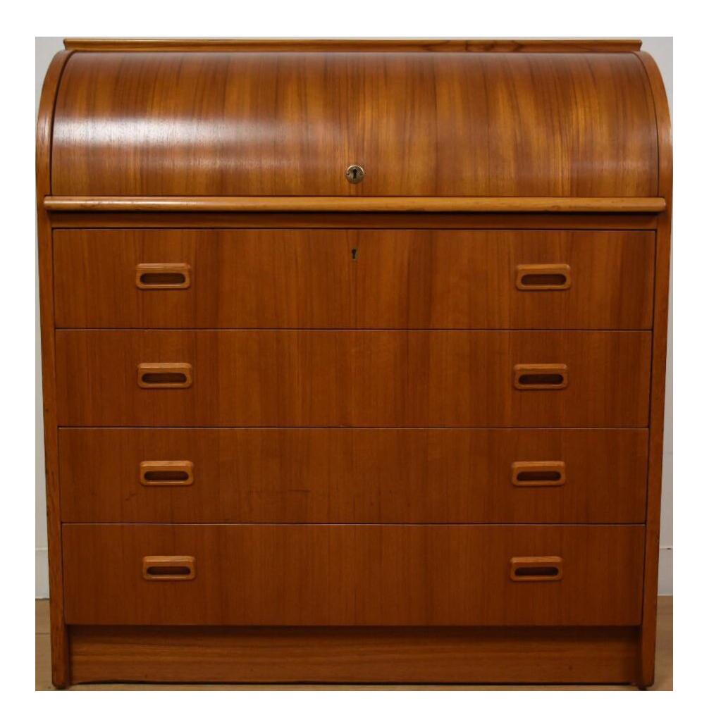 swedish modern teak roll top desk chairish. Black Bedroom Furniture Sets. Home Design Ideas