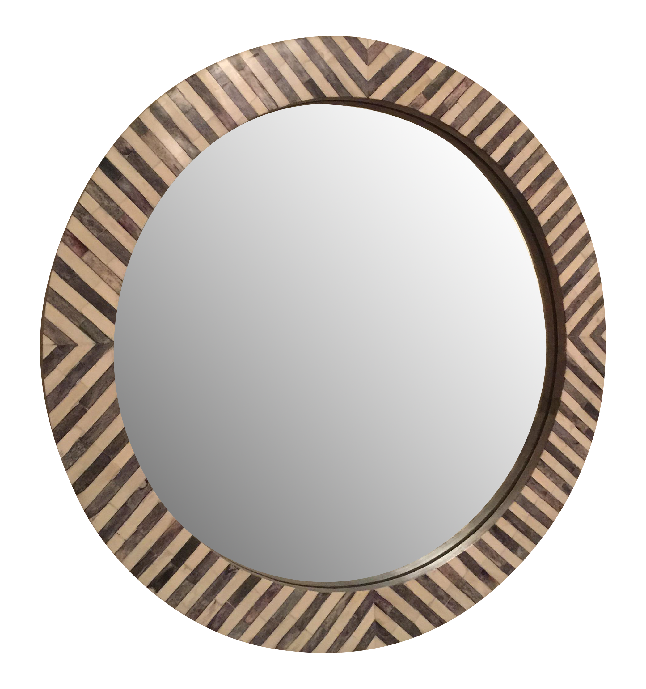West elm round herringbone parsons wall mirror chairish amipublicfo Choice Image