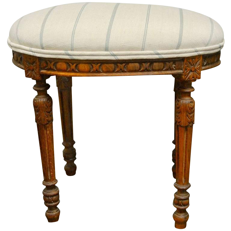 Louis Xvi Style French Linen Amp Wooden Oval Footstool