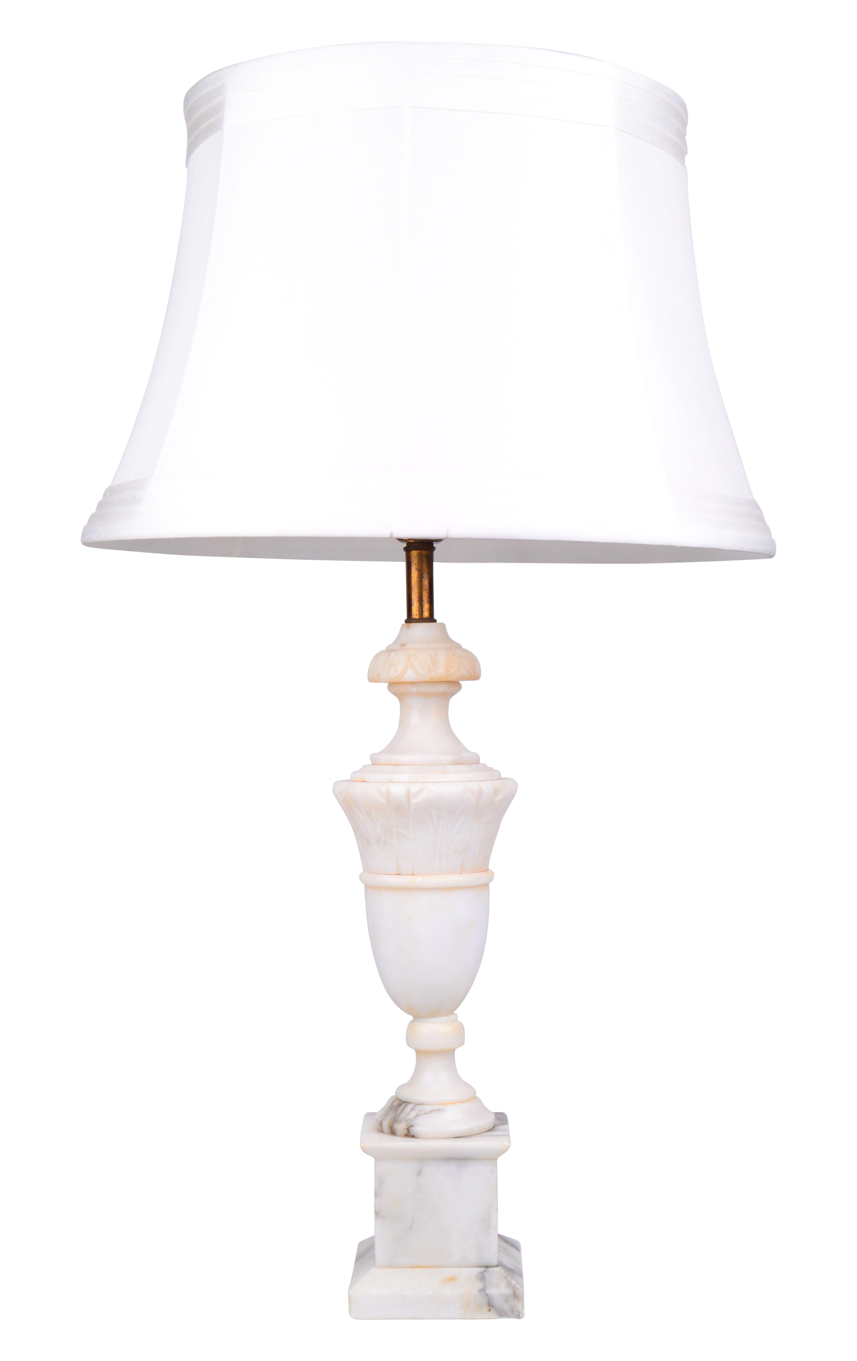 hand carved marble table lamp chairish. Black Bedroom Furniture Sets. Home Design Ideas