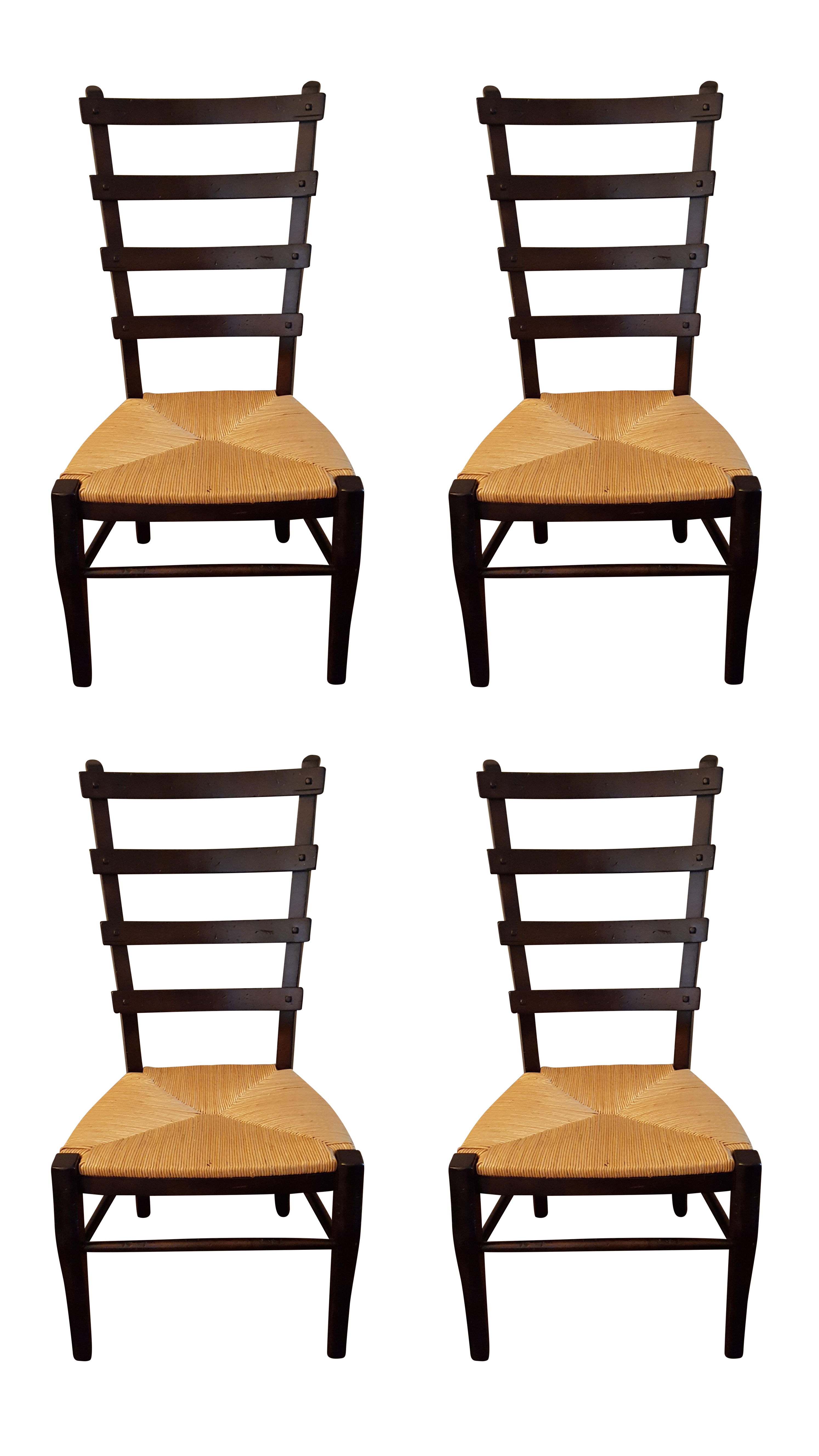 Ladder Back Dining Chairs With Rush Seats S 4 Chairish
