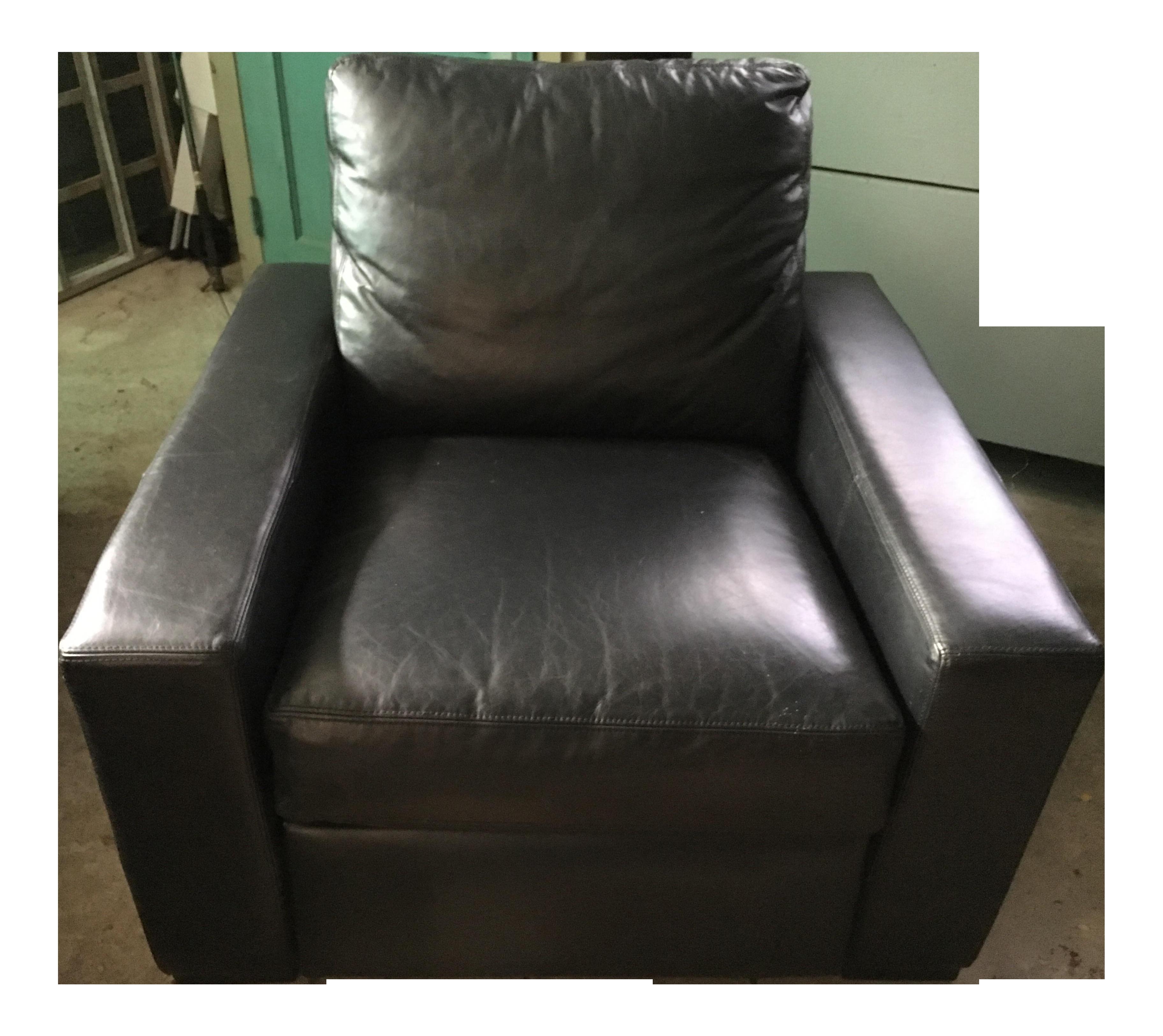 Restoration Hardware Black Leather Maxwell Recliner Chairish