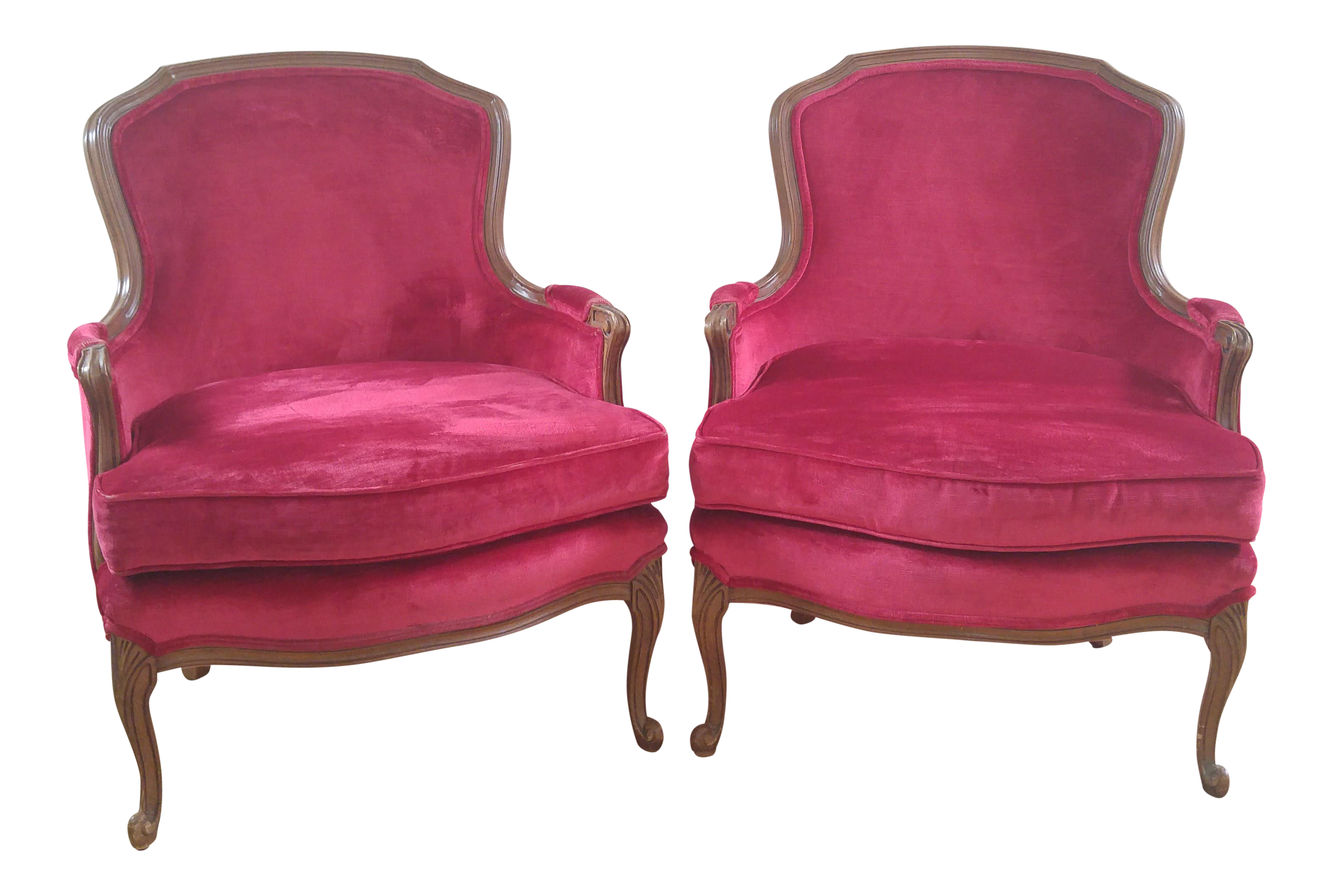 Red velvet chair - W J Sloane French Provincial Raspberry Red Velvet Chairs A Pair Chairish