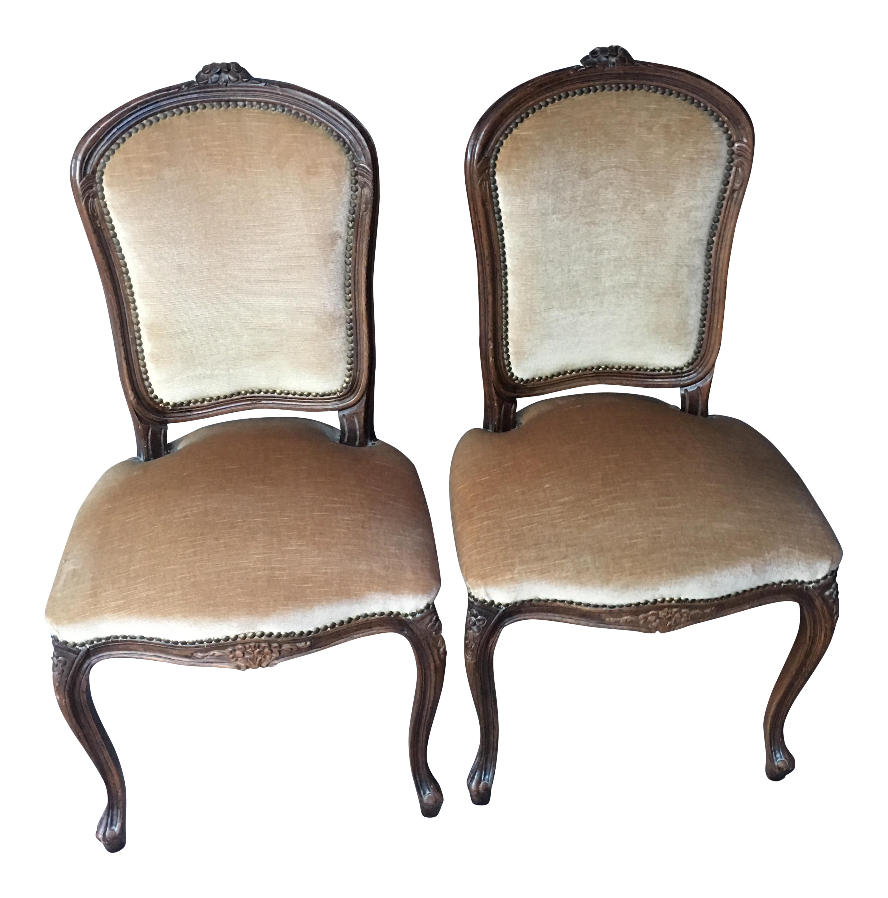 Vintage French Velvet Accent Chairs A Pair
