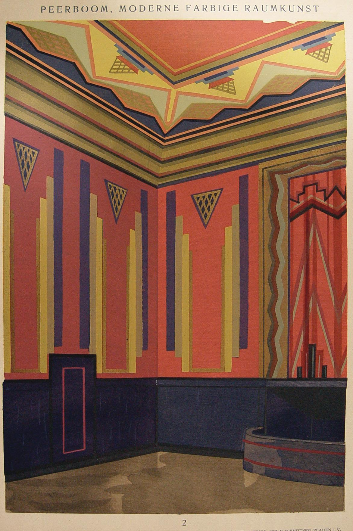 Art Deco Navy Amp Pink Pochoir Print 1929 Chairish
