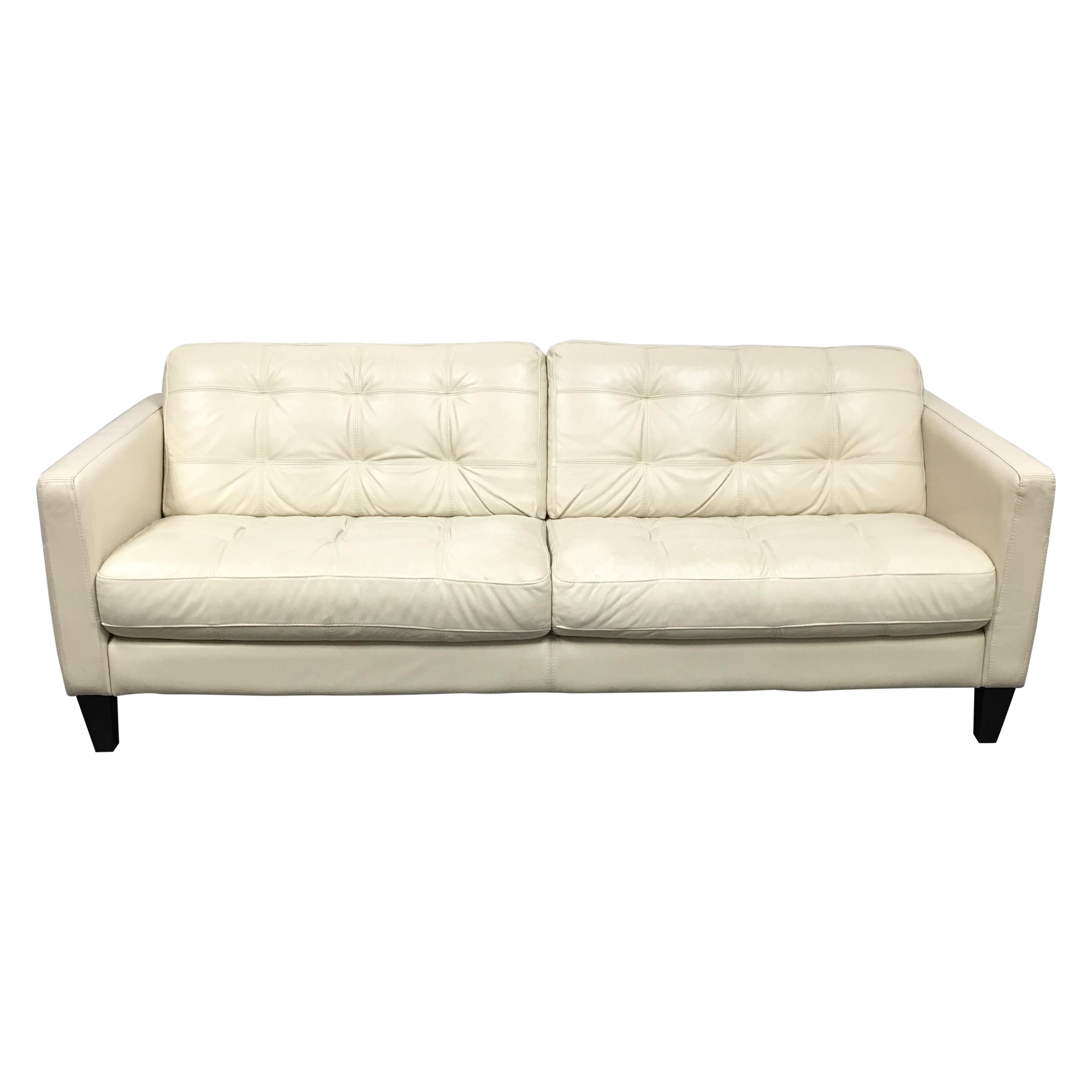 Chateaux D Ax Ivory Italian Leather Sofa