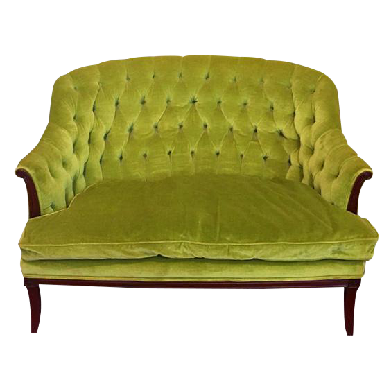 Green chartreuse velvet button tufted chesterfield settee for Button tufted velvet chaise settee green