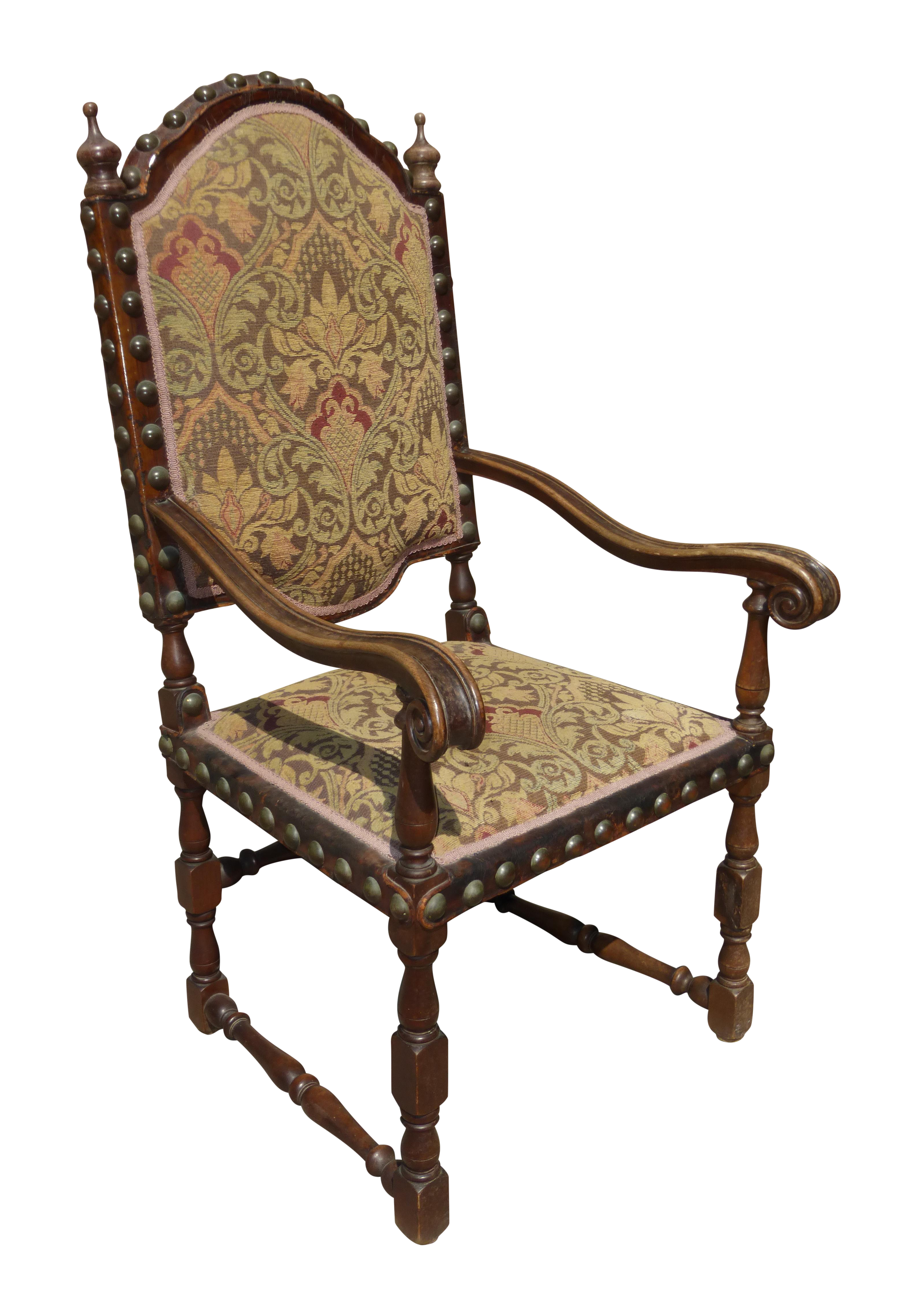 Spanish Revival Throne Chair with Leather