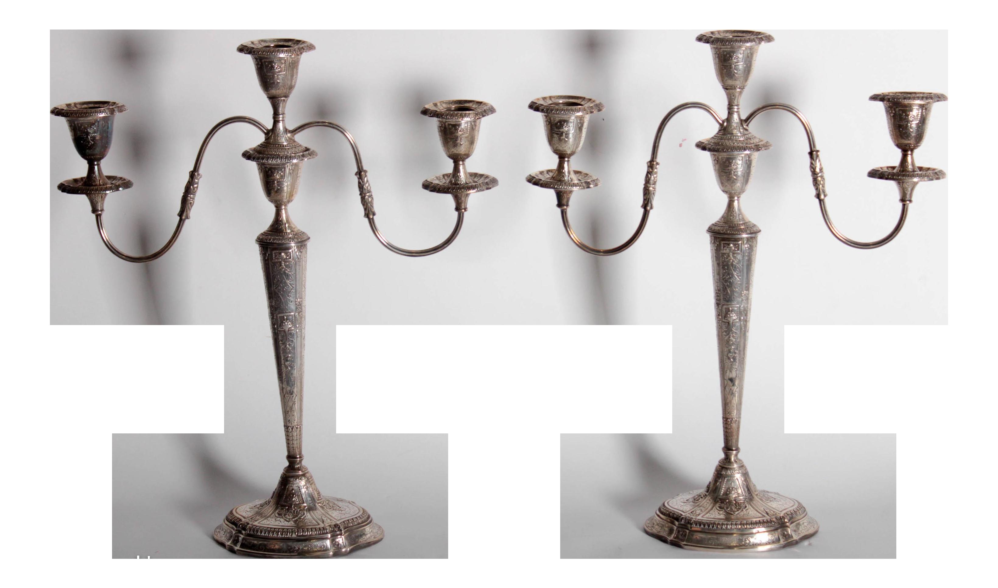antique e g webster silverplate embossed candelabras a