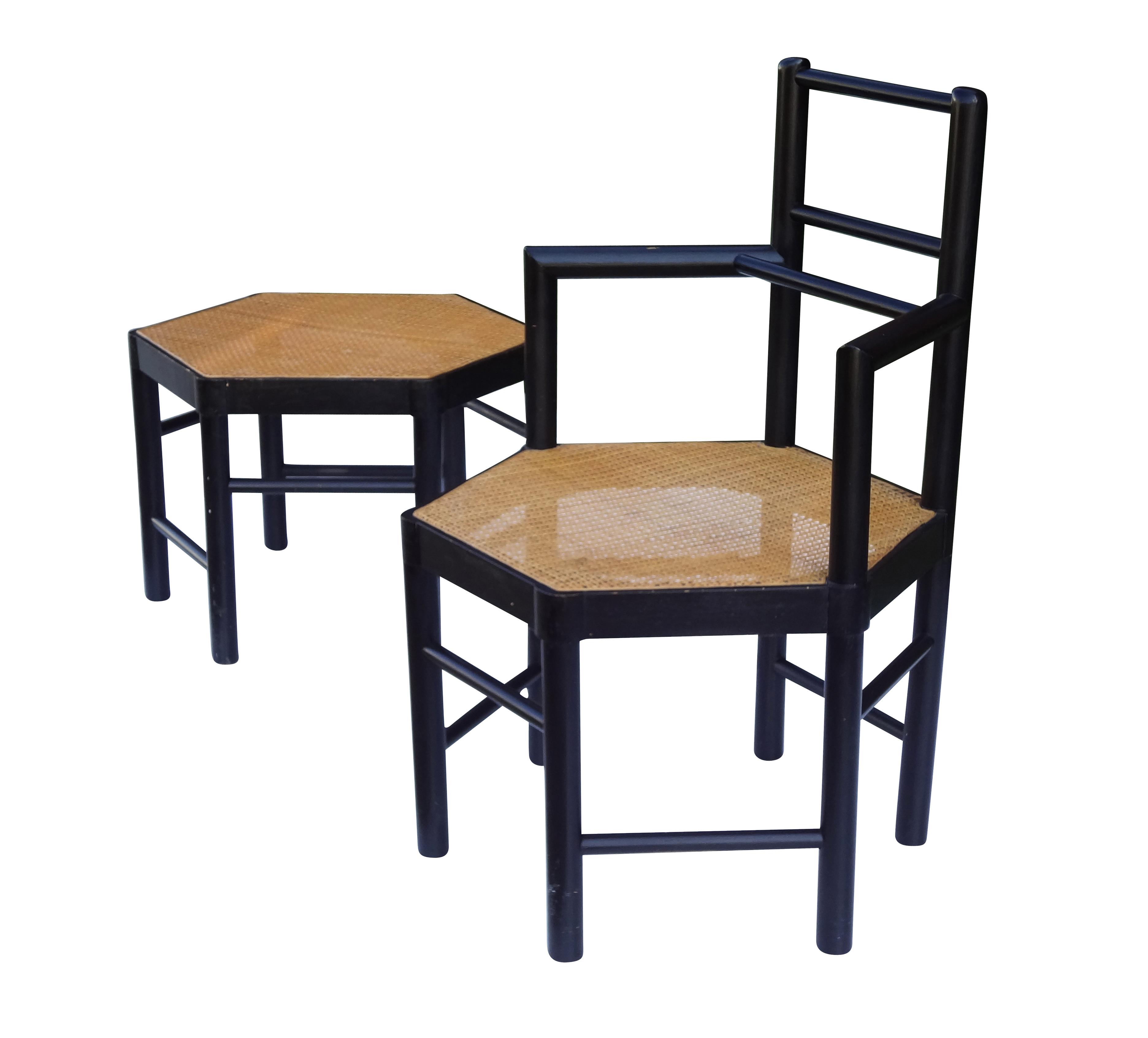 Josef Hoffmann Style Hexagonal Chair Amp Ottoman Set Chairish
