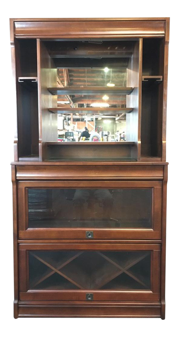 pottery barn laminate walnut glass u0026 mirrored lawyer bar hutch chairish