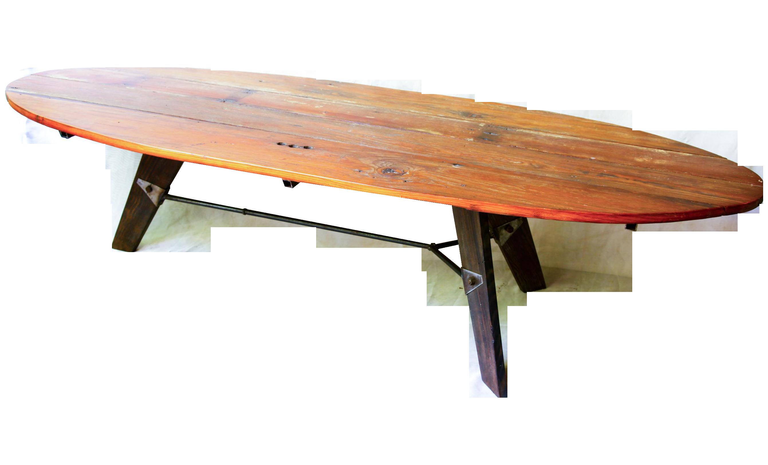 mid-century reclaimed wood surfboard coffee table | chairish