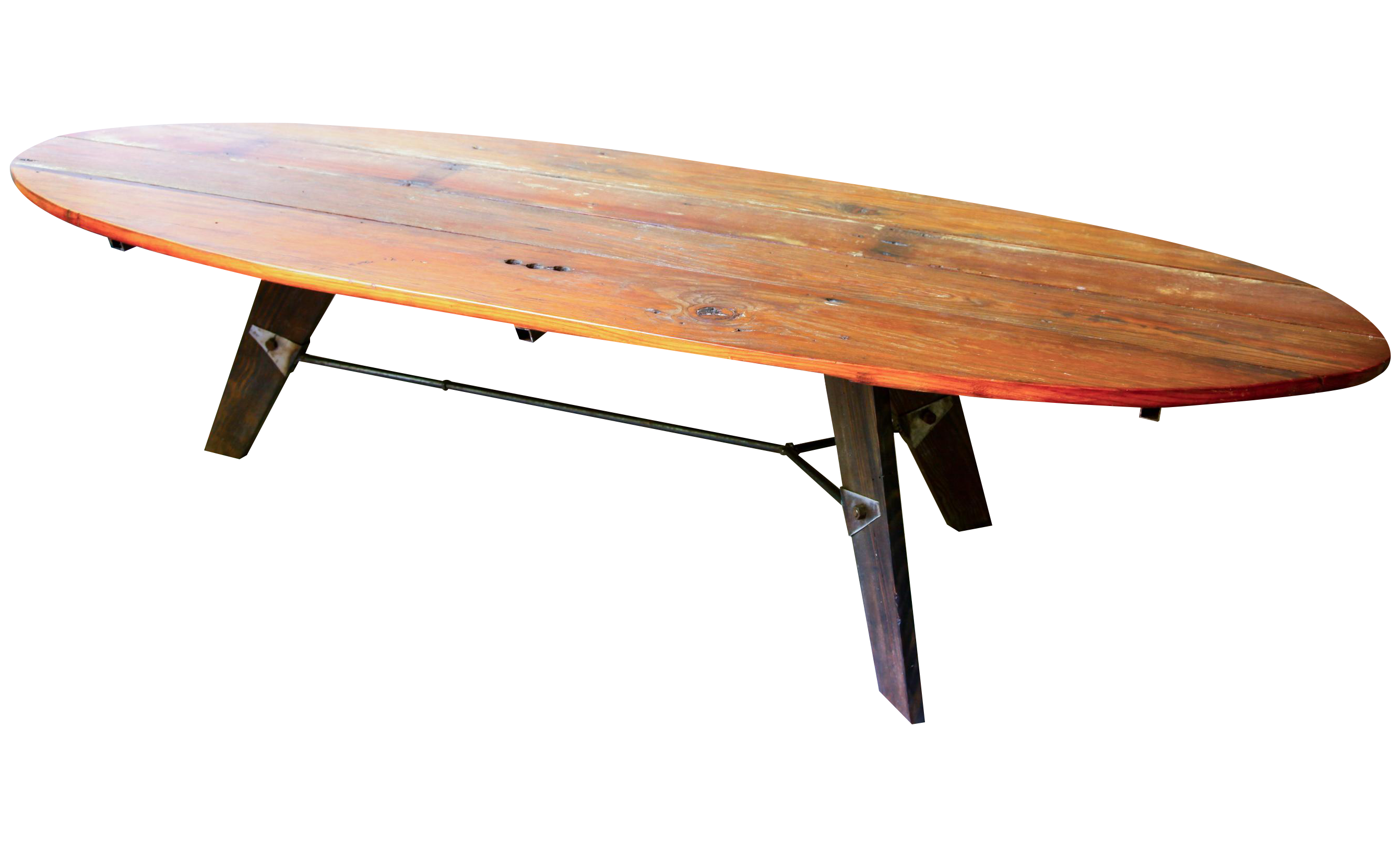 Mid Century Reclaimed Wood Surfboard Coffee Table