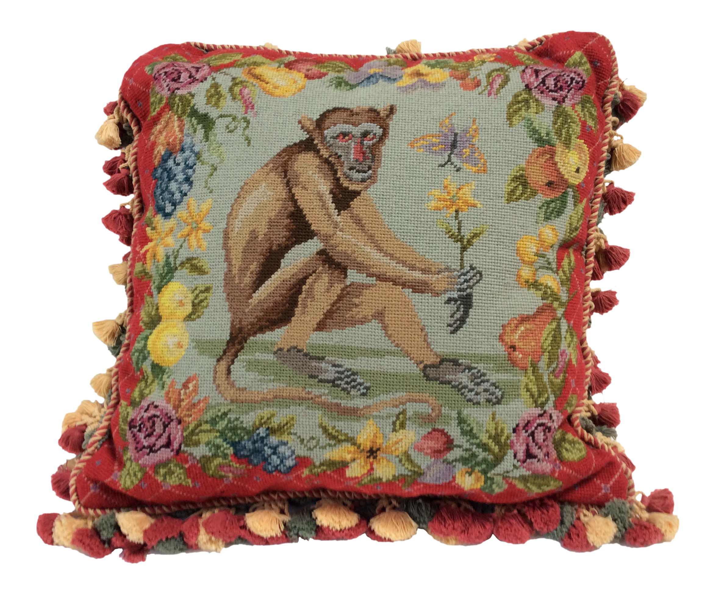 Traditional Pillow Easy Clean Medium : Traditional Needle Point Monkey Pillow Chairish