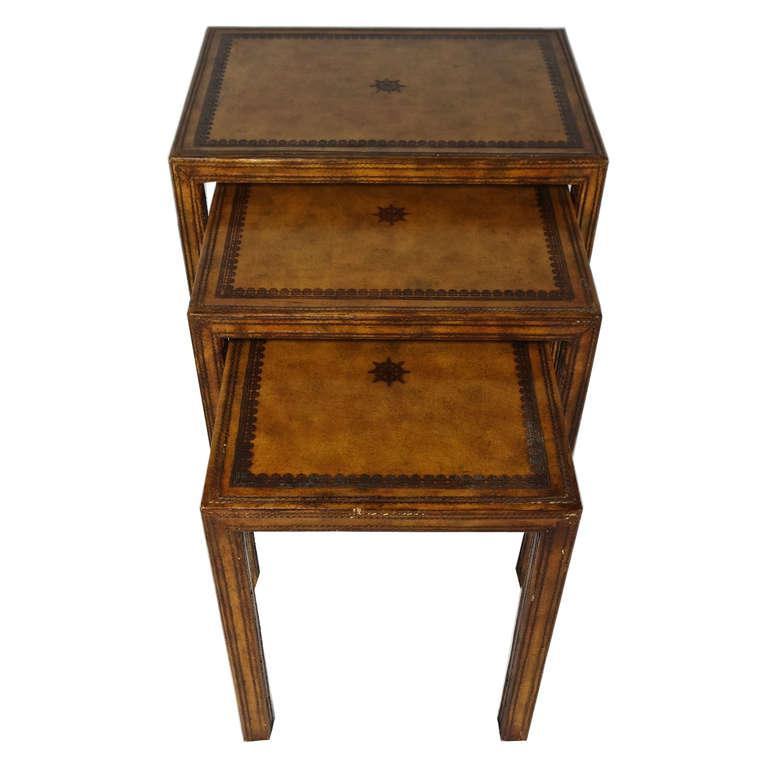 Maitland Smith Leather Nesting Tables Set Of 3 Chairish