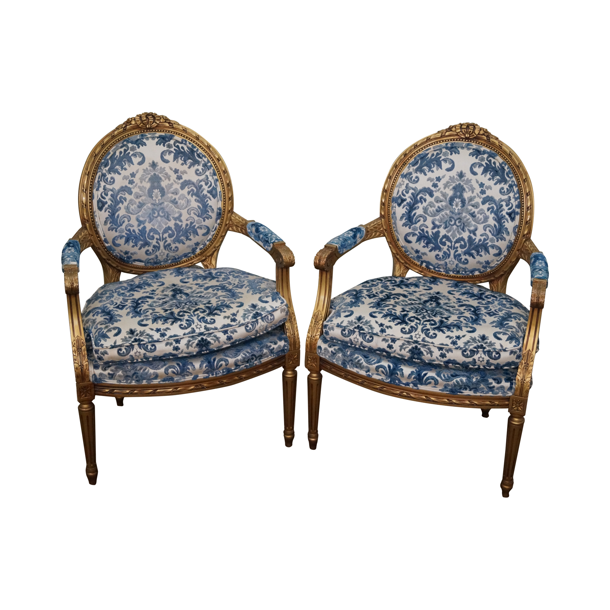 Vintage Gilt French Louis XVI Chairs A Pair