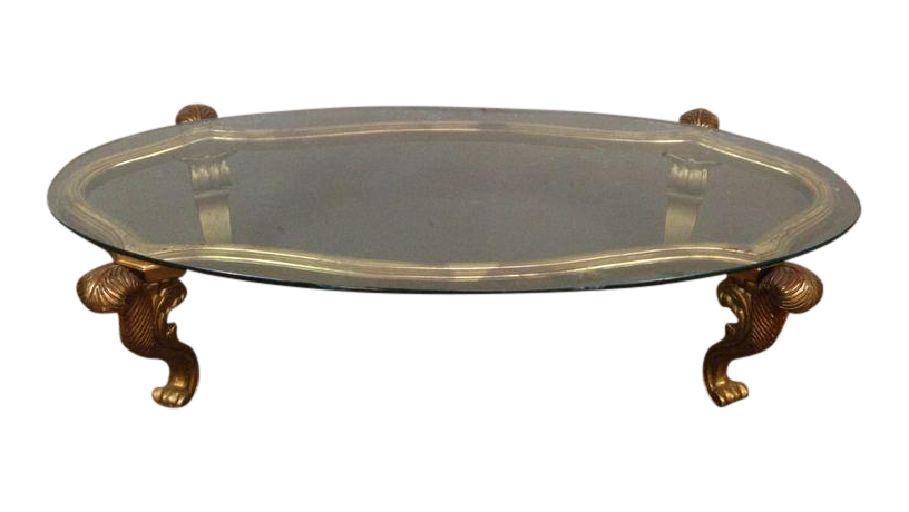 Rococo Style Gilt Metal Oval Coffee Table Chairish