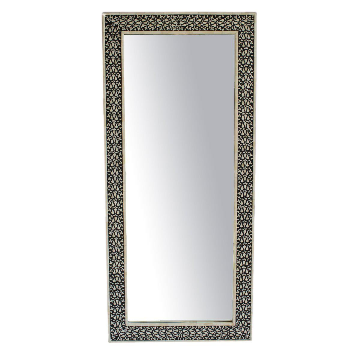 black white full length mirror chairish. Black Bedroom Furniture Sets. Home Design Ideas